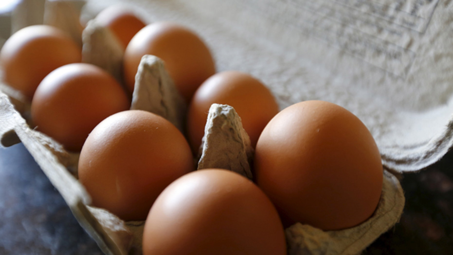 Aug. 17, 2015: Brown eggs are shown in their carton.