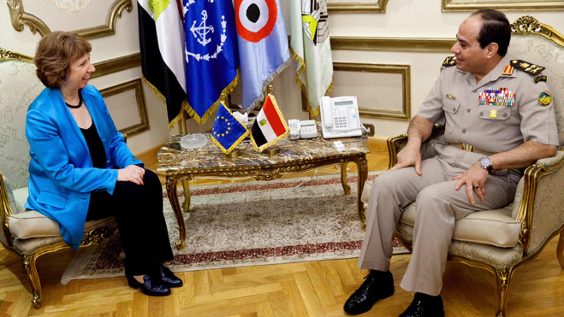 Oct. 3, 2013: In this image released by the Delegation of European Union in Egypt, Egyptian Minister of Defense, Abdel-Fattah el-Sissi, right, meets with High Representative of the European Union, Catherine Ashton in Cairo, Egypt.