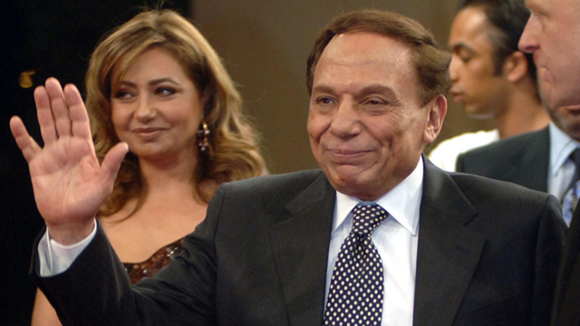 Nov. 11, 2005: FILE - In this file photo, Egyptian film actor and comedian Adel Imam, right, walks with Egyptian actress Laila Elwi, left, during the Second Dubai Interational Film Festival red carpet reception, in Dubai, United Arab Emirates.