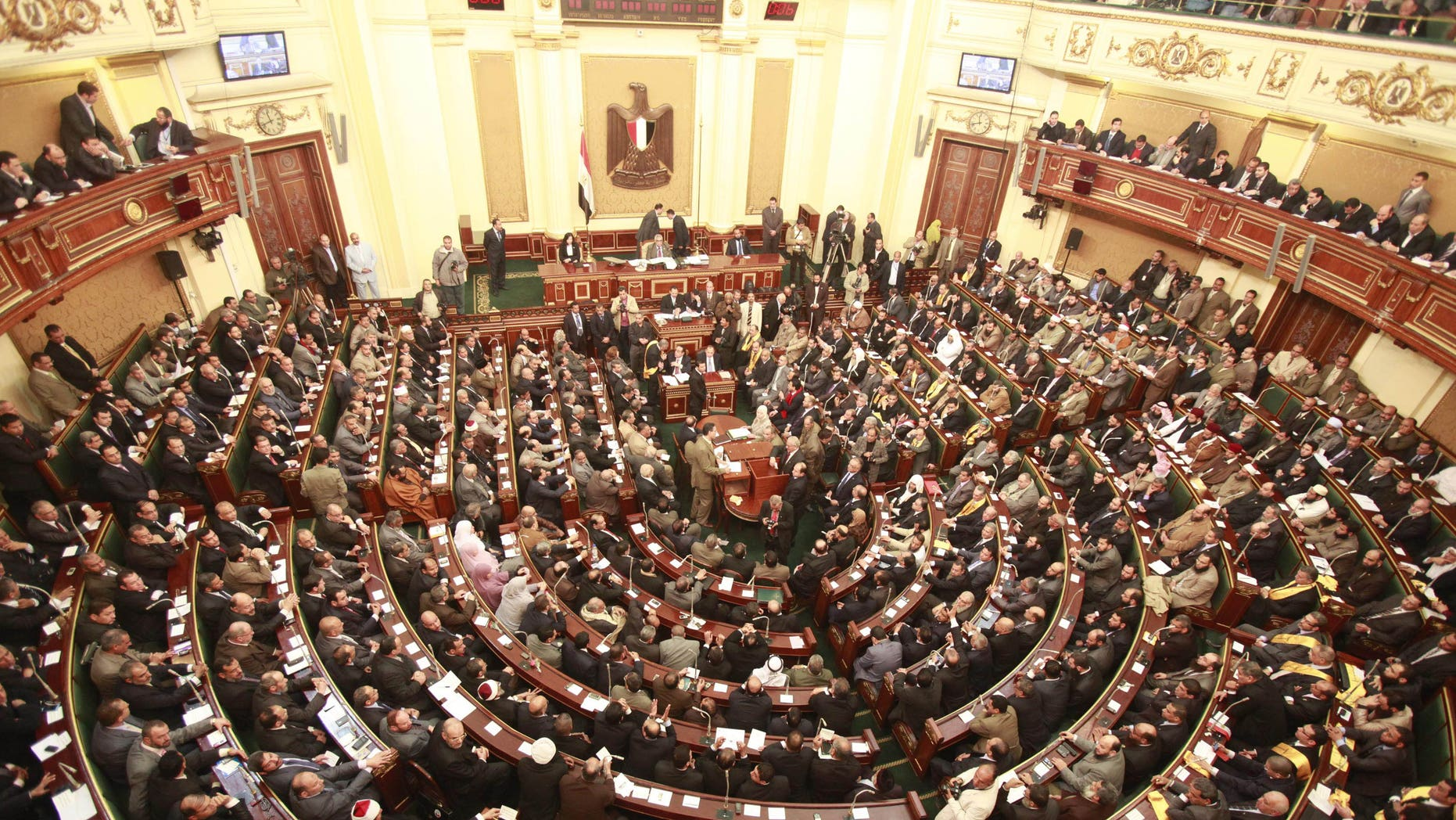 Jan. 23, 2012: In this file photo, a general view of  the first Egyptian parliament session after the revolution that ousted former President Hosni Mubarak, in Cairo, Egypt.