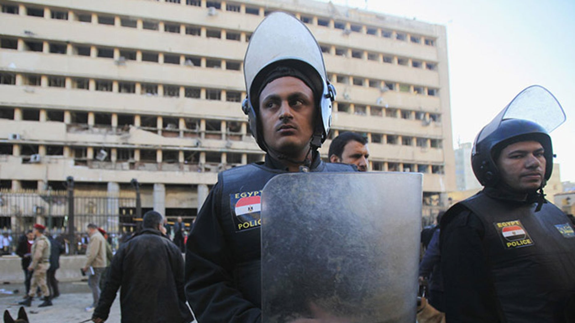 Four bombings in Egypt marked the third anniversary of the nation's revolution, which ousted Hosni Mubarak and ushered in the brief tenure of Mohammad Morsi. (Reuters)