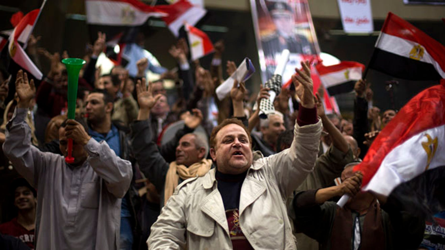 Jan. 21, 2014: Egyptians chant slogans as they attend a rally in support of Egypt's Defense Minister, Gen. Abdel-Fattah el-Sissi, in Cairo, Egypt.