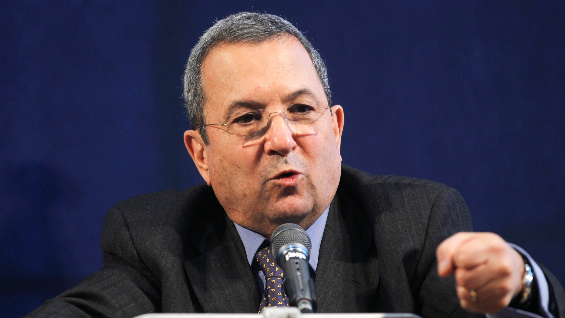 Israel's Defense Minister Ehud Barak answers a question during a joint news conference with Defense Secretary Robert Gates, not pictured, in Tel Aviv, Israel, Thursday, March 24, 2011. (AP)