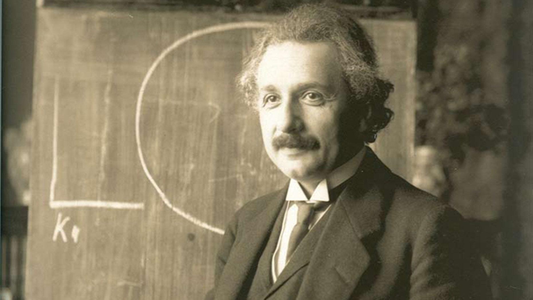 Albert Einstein during a lecture in Vienna in 1921.