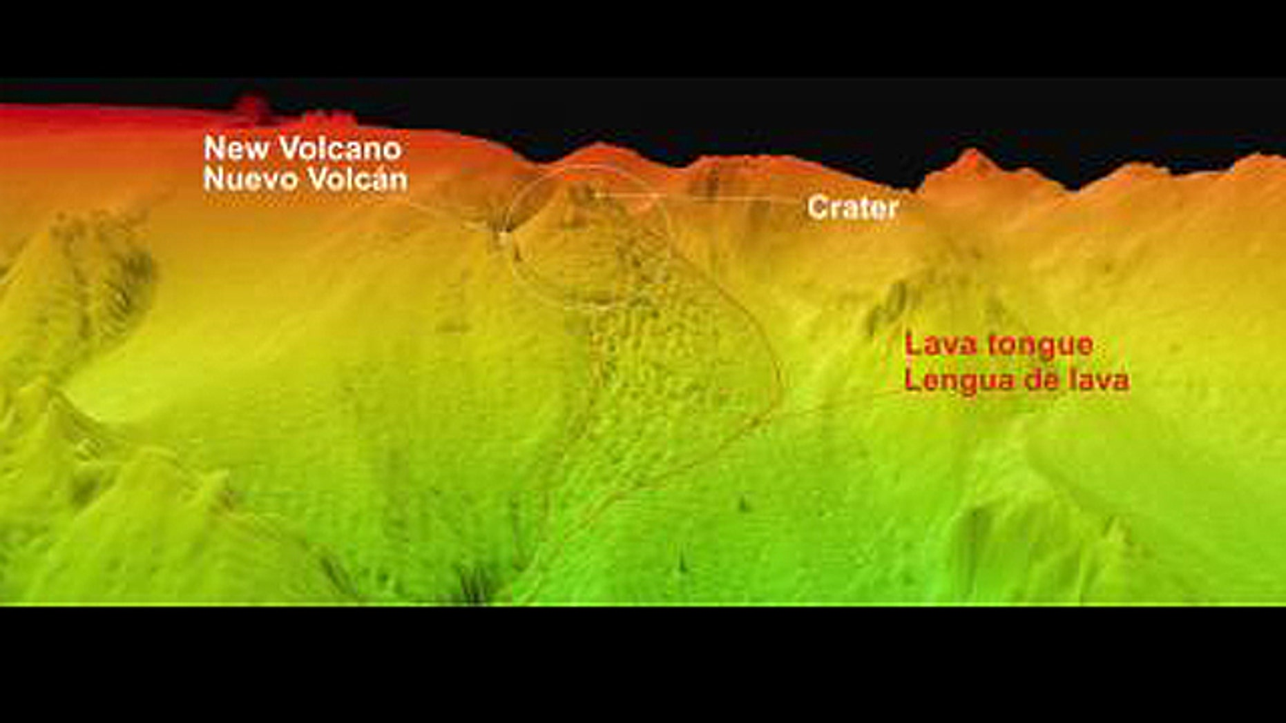 Caption: This image was recently taken and shows the new volcano and its lava tongue that descends in the path of the old underwater valley.