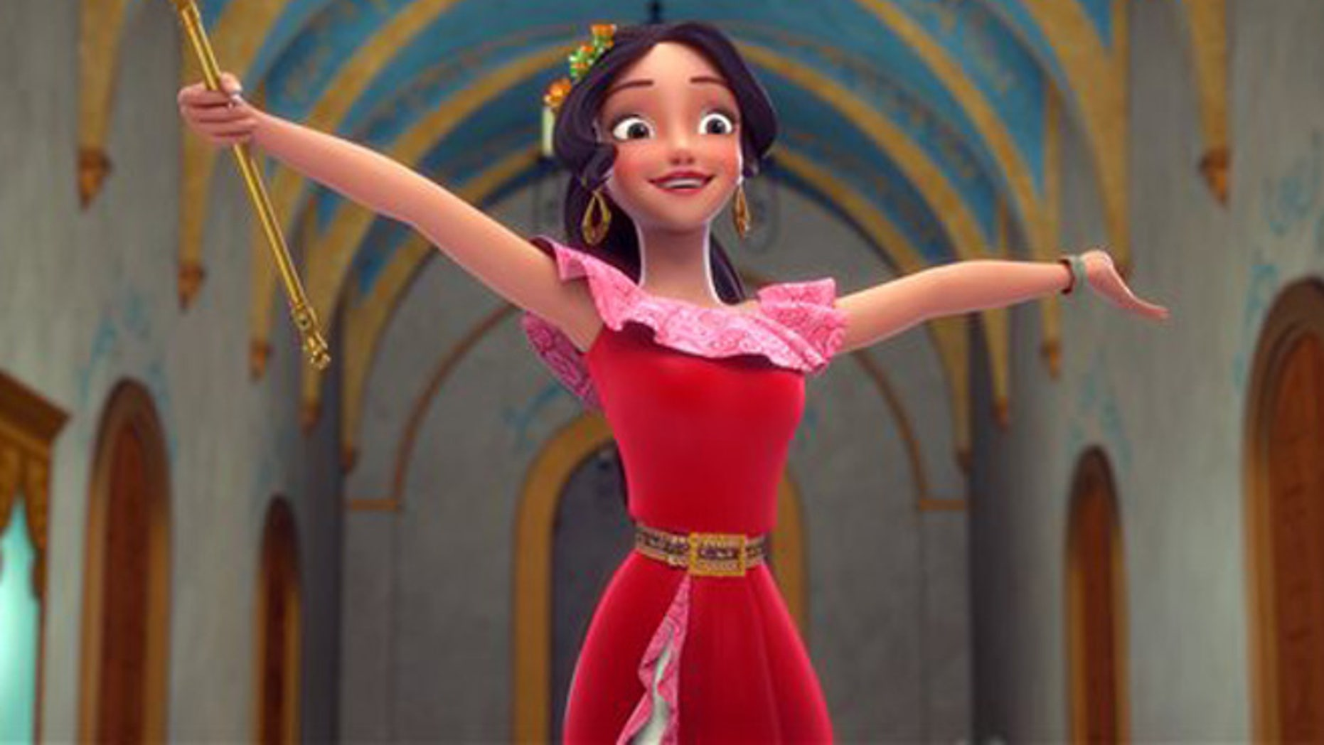 "This image released by the Disney Channel shows the character Elena who  becomes a crown princess in a scene from, ""Elena of Avalor,"" premiering July 22 on Disney Channel. (Disney Channel via AP)"
