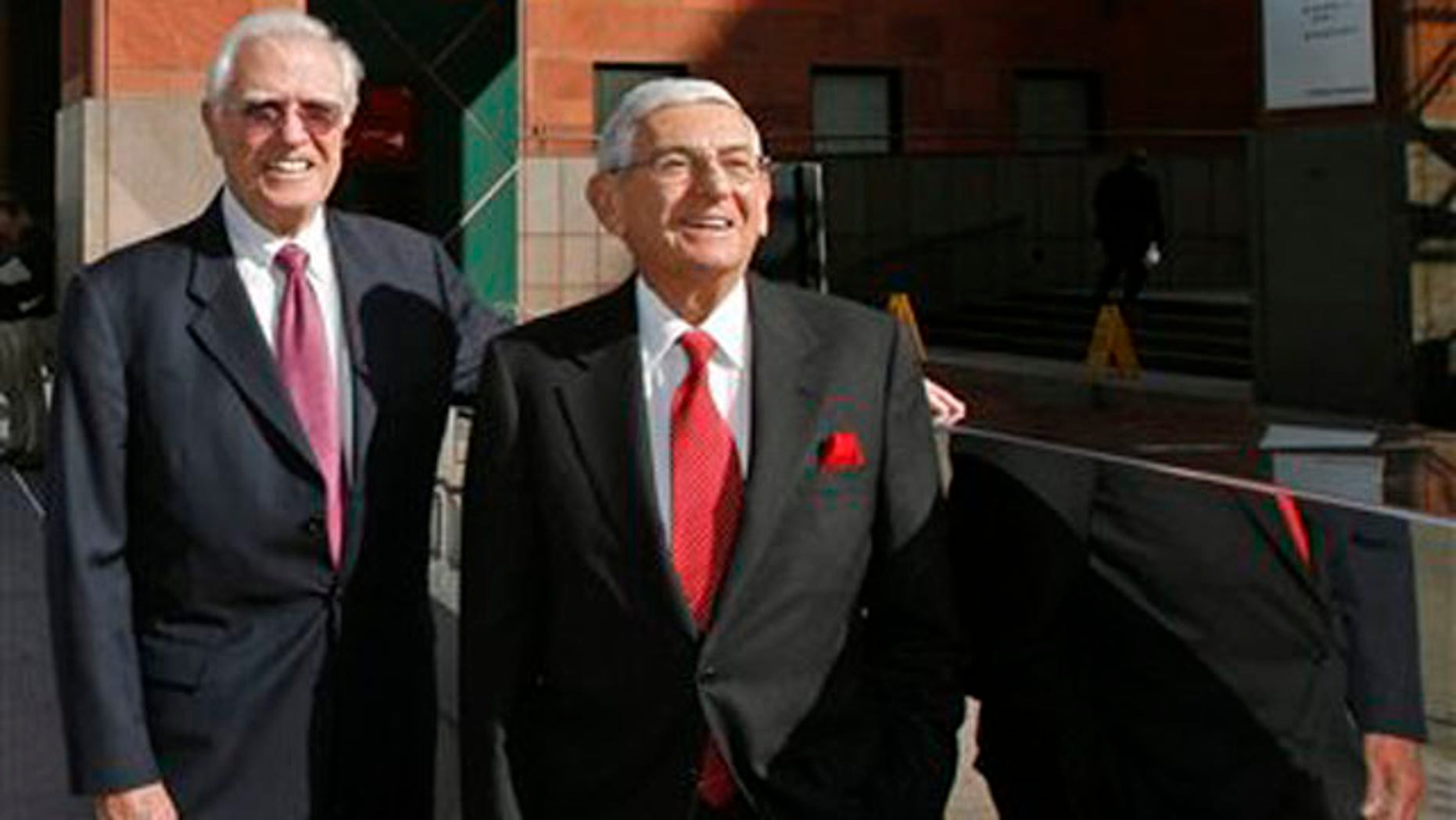 Dec. 23, 2008: Eli Broad, right, and Charles Young, CEO of Museum of Contemporary Art's pose outside the downtown Los Angeles museum (AP).