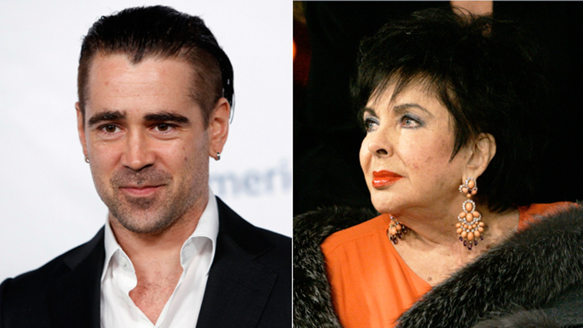 """Colin Farrell, left, has revealed he had a """"romantic relationship"""" with Elizabeth Taylor."""