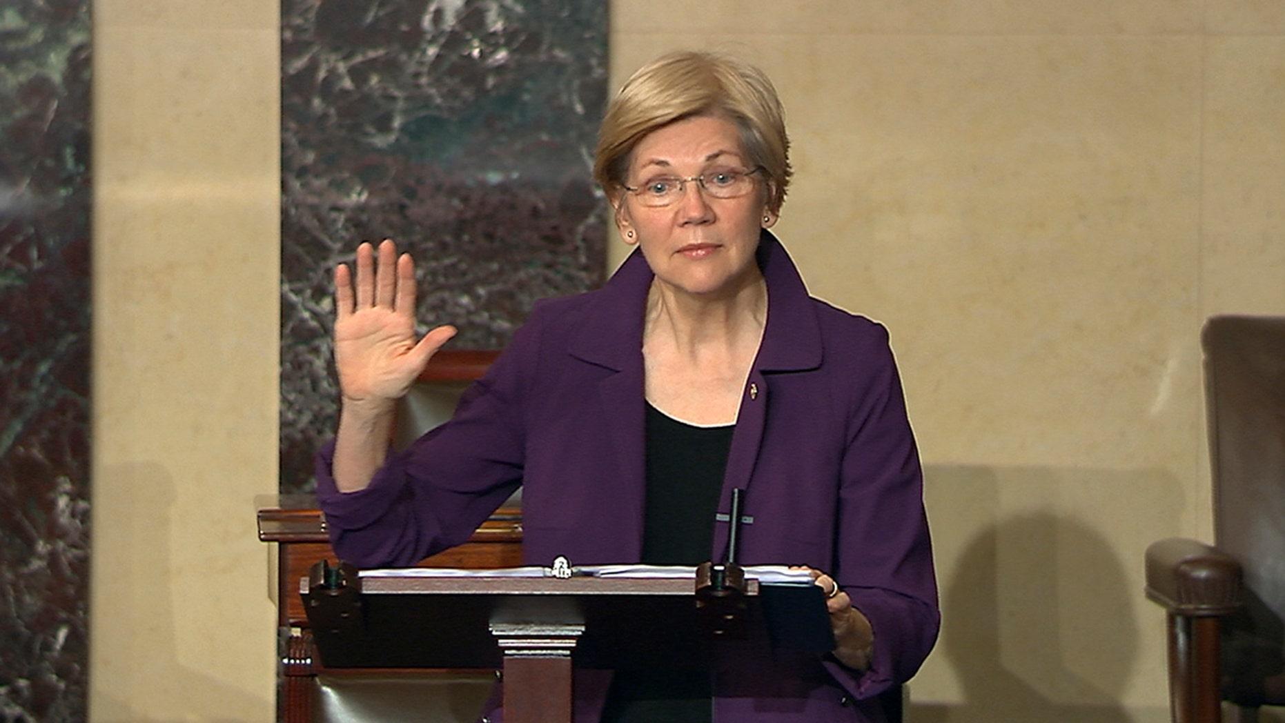 Feb. 6, 2017: Sen. Elizabeth Warren, D-Mass., speaks on the floor of the U.S. Senate in Washington about the nomination of Betsy DeVos to be Education Secretary.
