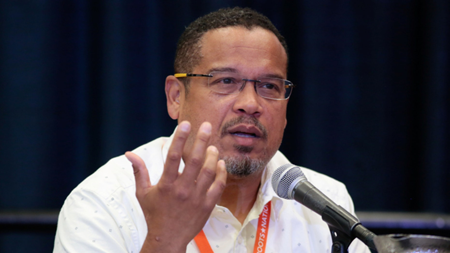 "U.S. Rep. Keith Ellison (D-MN) speaks at breakout session ""From Demonstration to Legislation: How Organizing Will Win Back Progressive Power"" at the Netroots Nation annual conference for political progressives in Atlanta, Georgia, U.S. August 11, 2017. REUTERS/Christopher Aluka Berry - RC16E71BABE0"