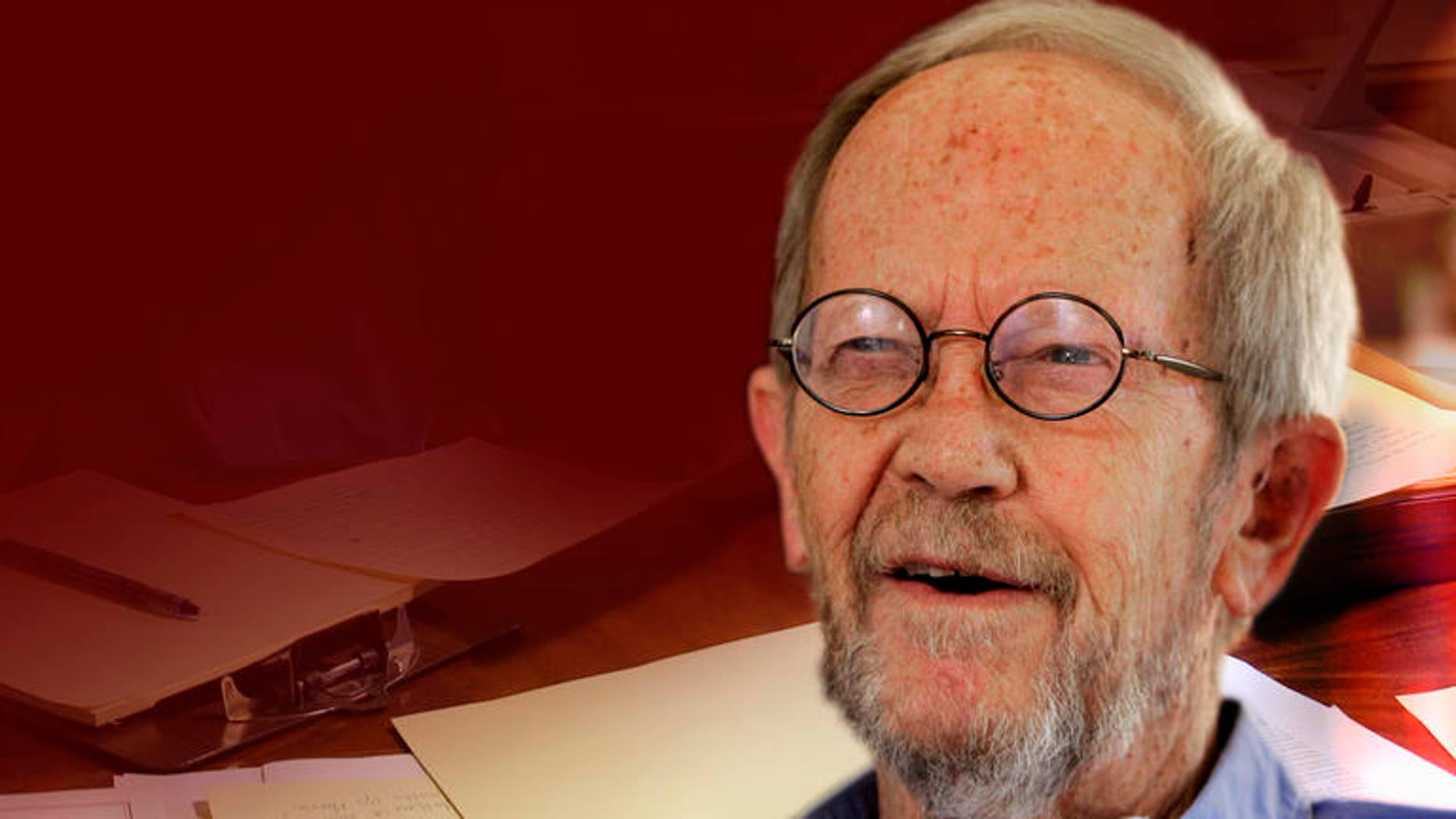 In this Sept. 28, 2010 photo, author Elmore Leonard is interviewed at his home in Bloomfield Township, Mich. (AP Photo/Carlos Osorio)