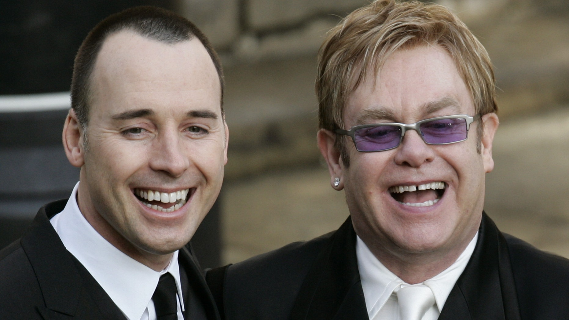 Dec. 21, 2005. Elton John, right, and his longtime partner David Furnish, after they had a civil ceremony at the Guildhall in Windsor, England.