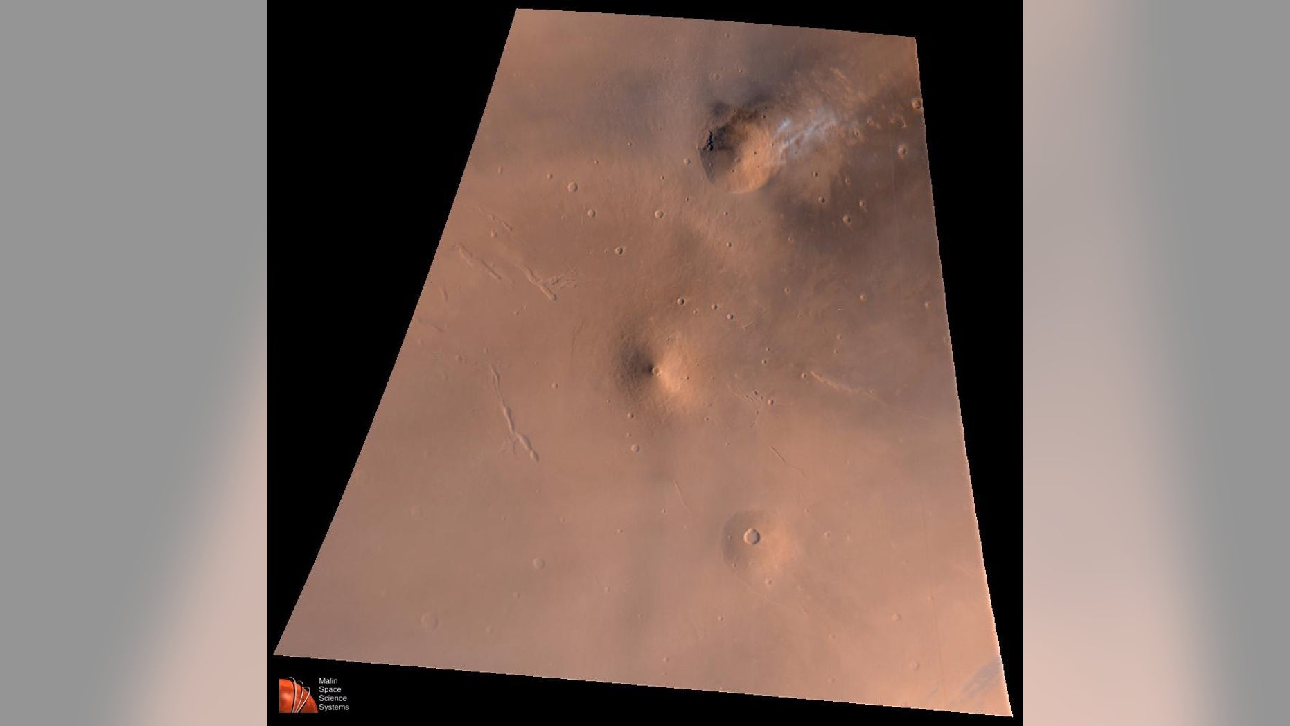 Volcanoes on Mars like Elysium Mons, whose volcanic region is pictured here, grew much slower than their counterparts on Earth, a new study has found.