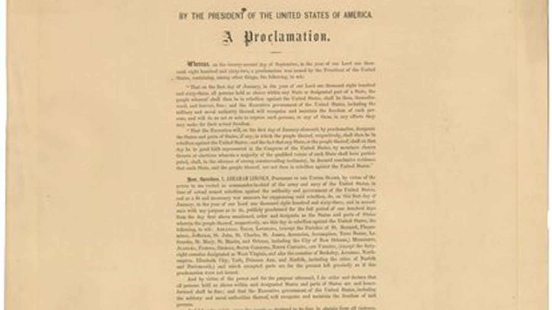 June 26, 2012: This undated photo provided by Seth Kaller, Inc., shows a rare original copy of President Abraham Lincoln's Emancipation Proclamation, which sold at a New York auction for more than $2 million.