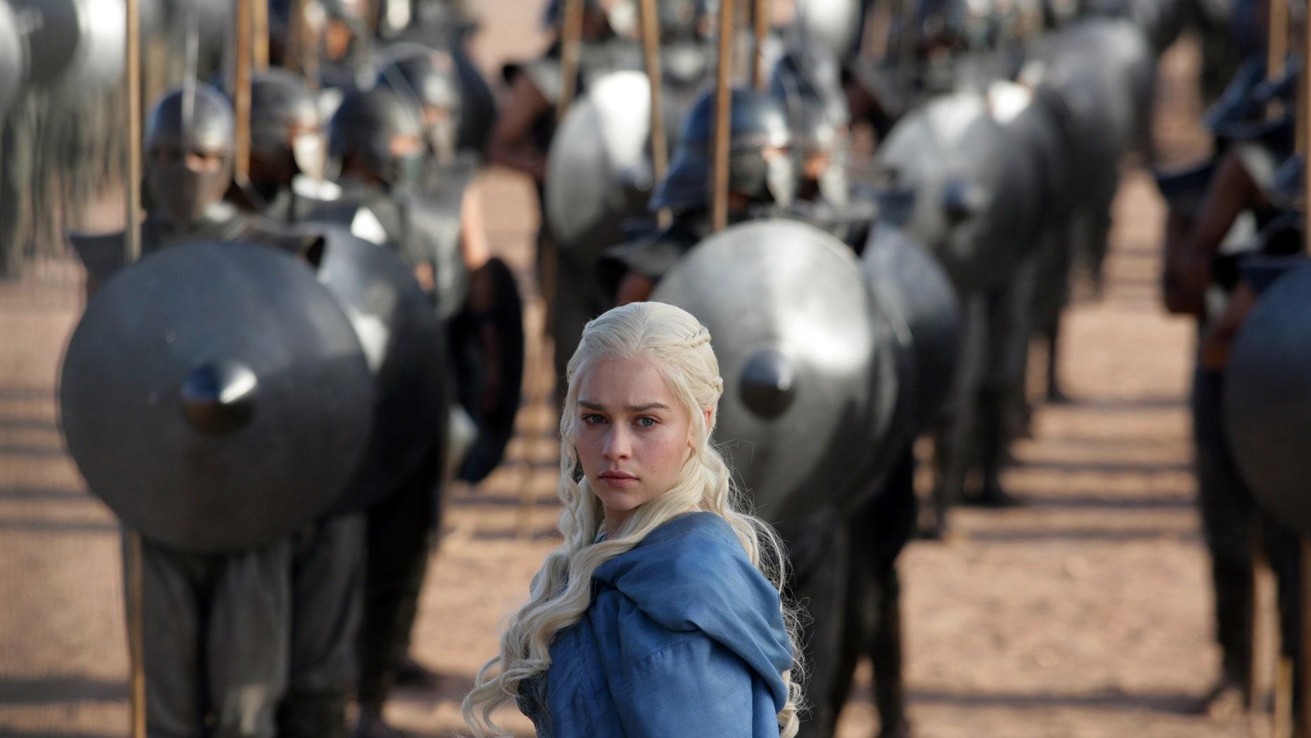 "Emilia Clarke as Daenerys Targaryen in a scene from ""Game of Thrones."""