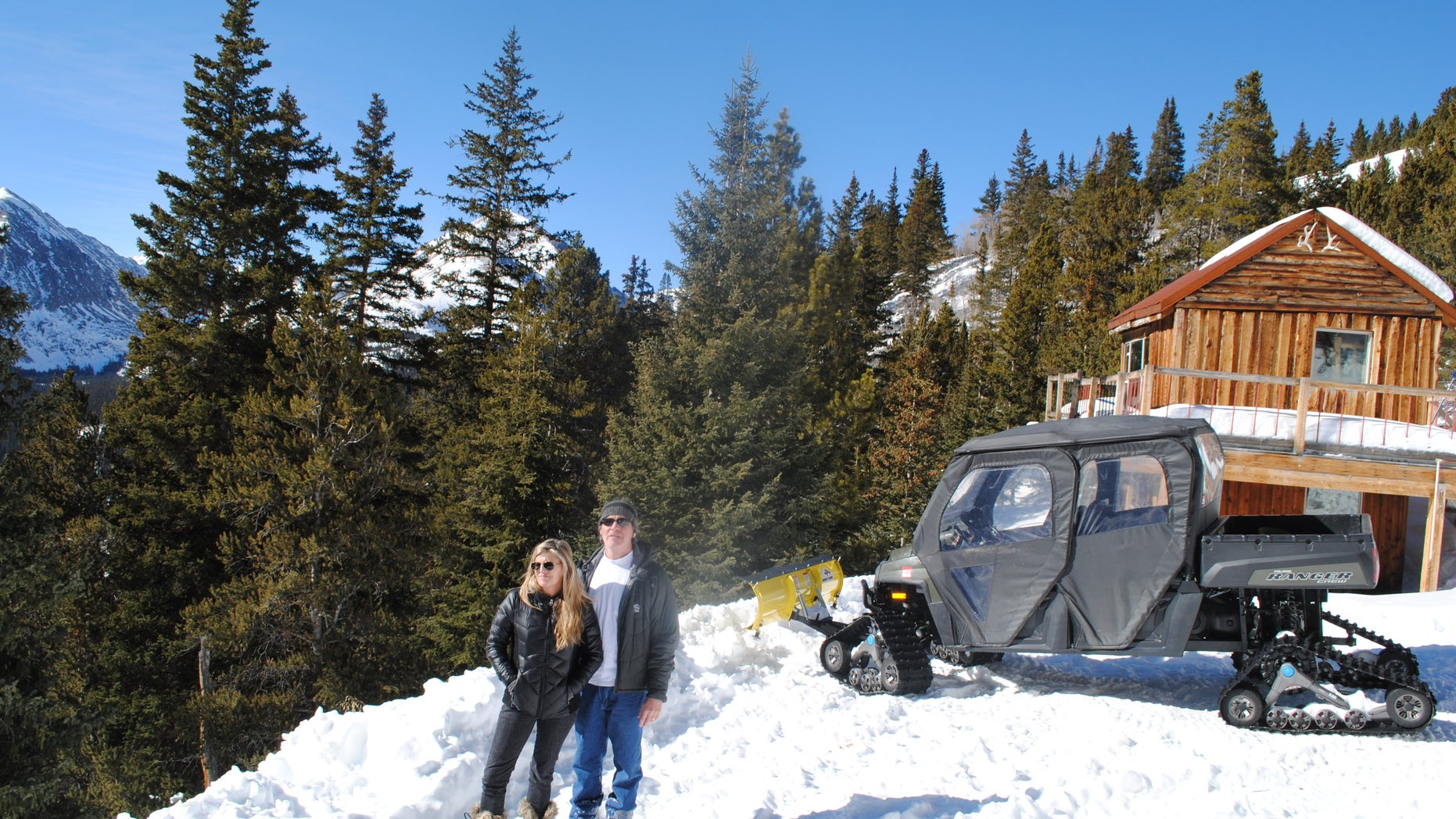 Jan. 24, 2014: Andy and Ceil Barrie stand for a photo next to their mining cabin near Breckenridge, Colo.