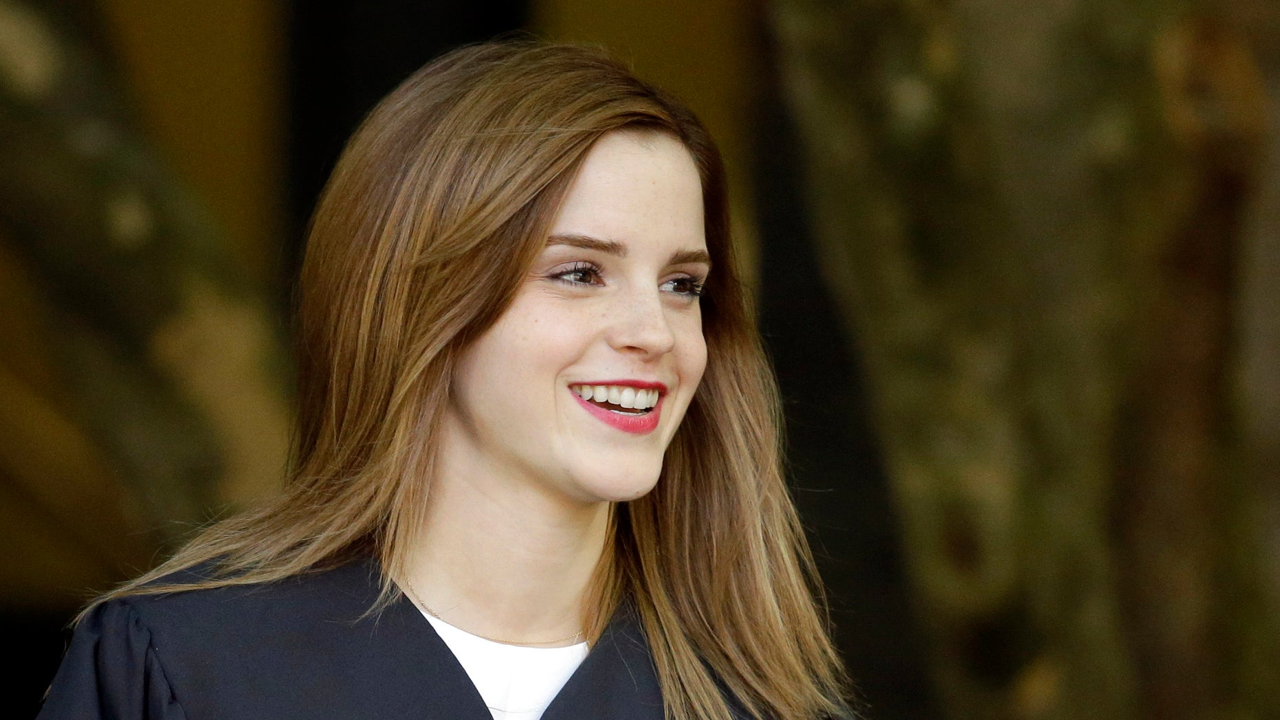 May 25, 2014. Actress Emma Watson walks between buildings following commencement services on the campus of Brown University, Sunday, May 25, 2014, in Providence, R.I. The actress, best known for her role as Hermione Granger in the Harry Potter movies, graduated with a bachelor's degree in English literature from the Ivy League university.