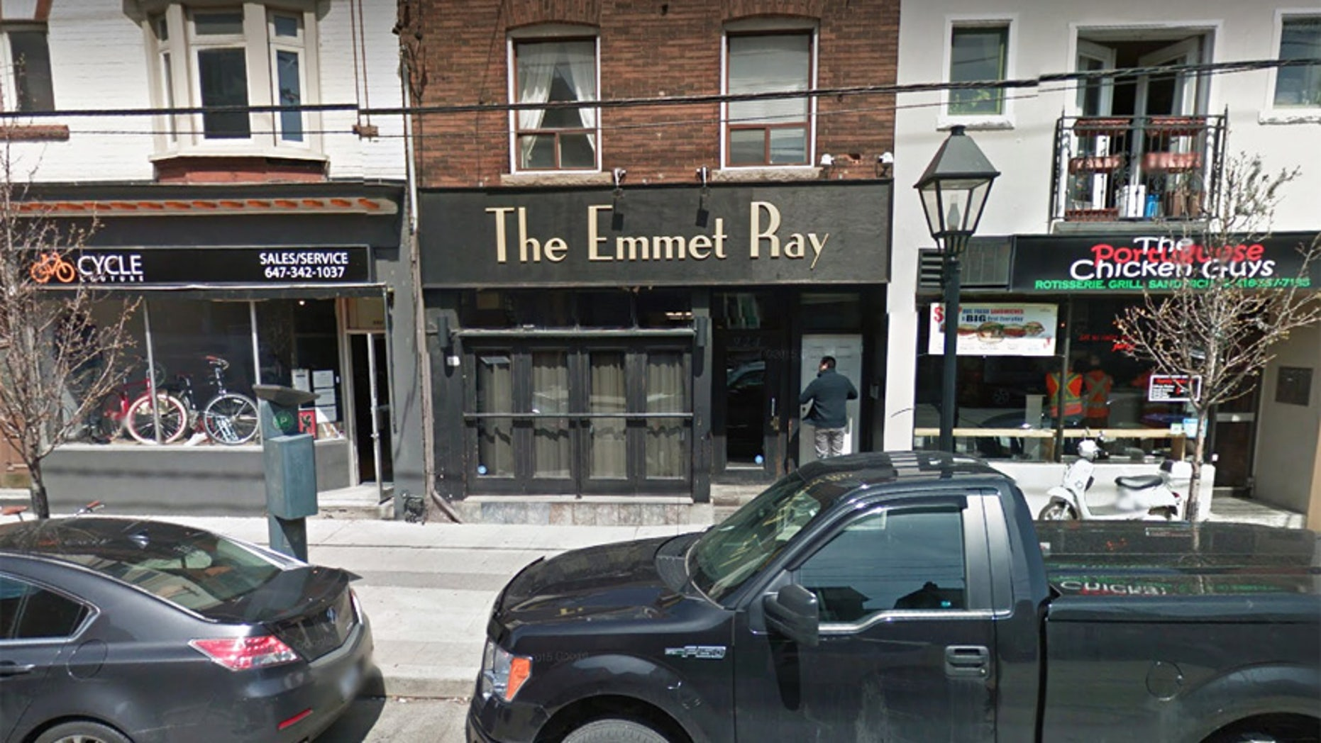 The Emmet Ray in Toronto, Ontario, utilizes coasters made from car wrecks.