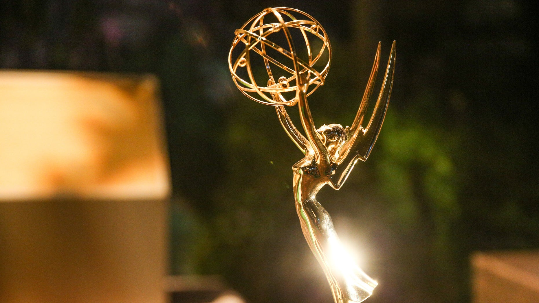 An Emmy statuette is displayed inside the Governor's Ball at the 2016 Primetime Emmy Awards Press Preview Day at the Los Angeles Convention Center on Wednesday, Sept. 14, 2016, in Los Angeles. (Photo by Rich Fury/Invision/AP)