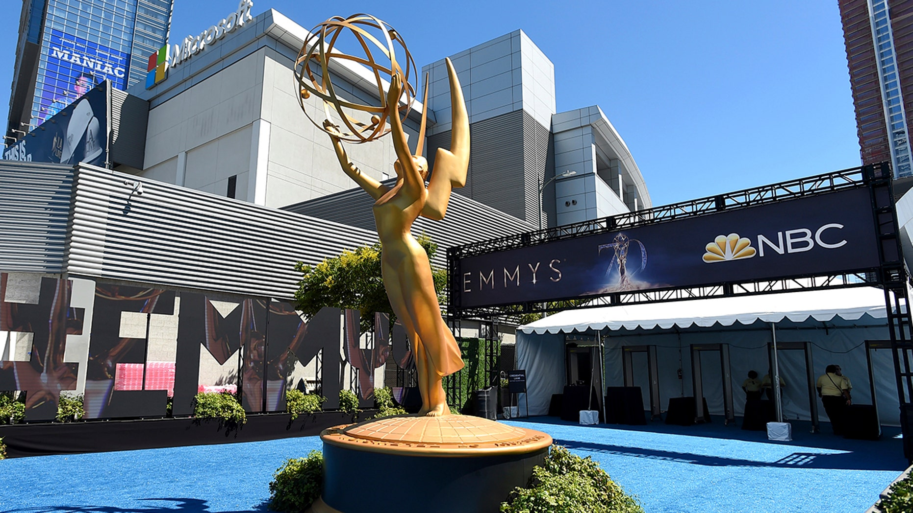 An Emmy statue appears before the 70th Primetime Emmy Awards on Monday, Sept. 17, 2018, at the Microsoft Theater in Los Angeles.
