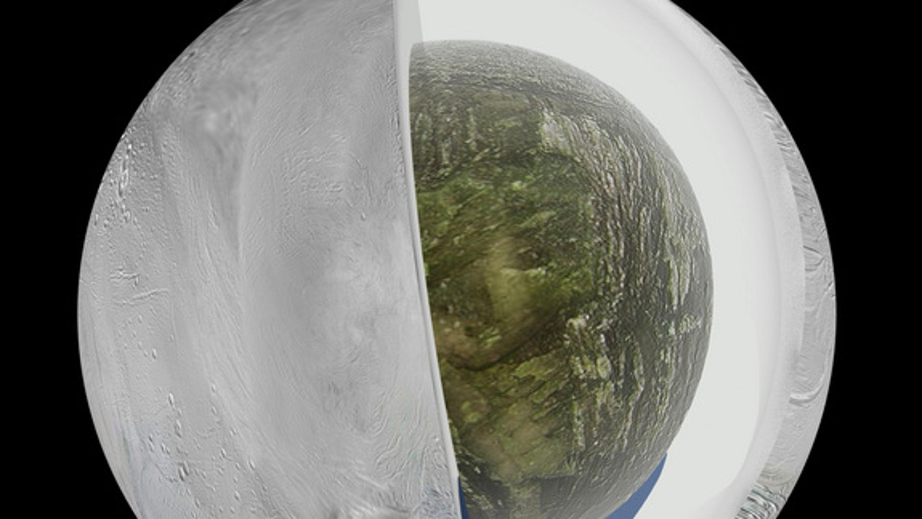 This illustration shows the possible interior of the Saturn moon Enceladus. Data gathered by NASA's Cassini probe suggests Enceladus has an ice outer shell and a rocky core with a regional water ocean sandwiched in between at high southern lati