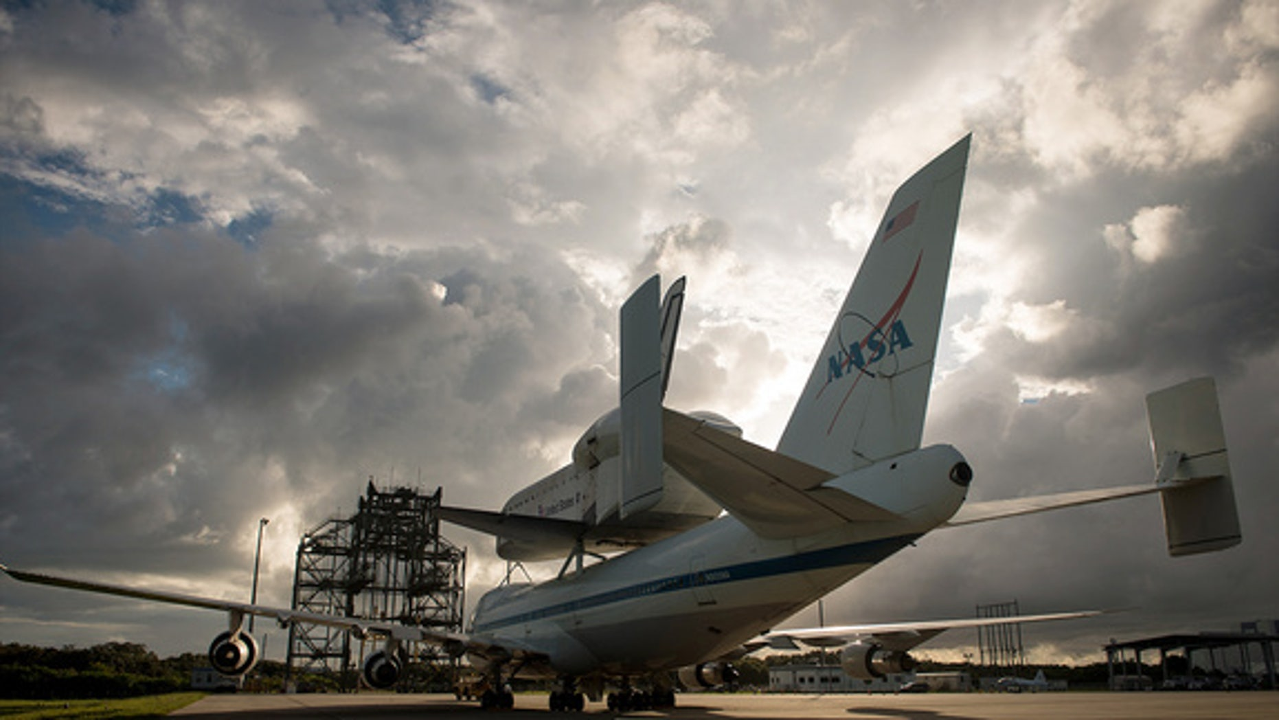 Space shuttle Endeavour, atop NASA's Shuttle Carrier Aircraft, or SCA, is seen at the Shuttle Landing Facility at NASA's Kennedy Space Center on Monday, Sept. 17, 2012.