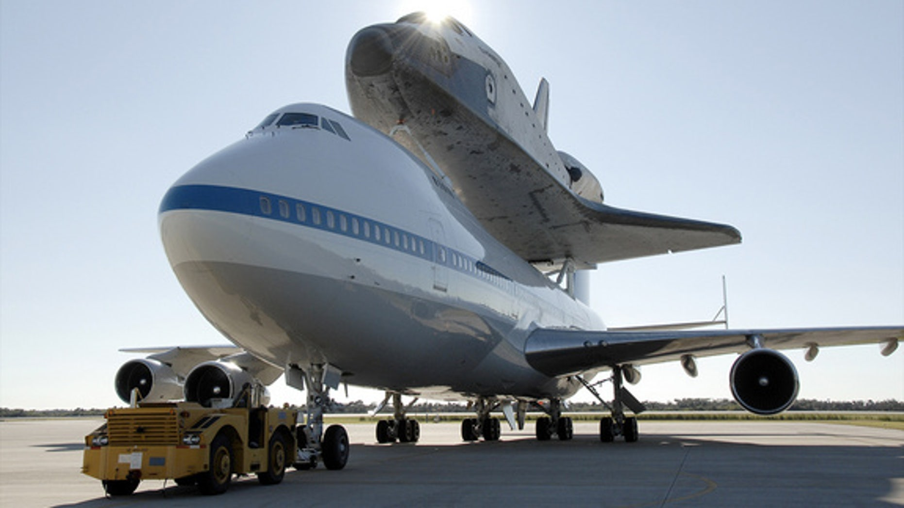 Space shuttle Endeavour, seen here in 2008 atop NASA's Boeing 747 carrier aircraft, will arrive in Los Angeles on Sept. 2012, for delivery to the California Science Center.