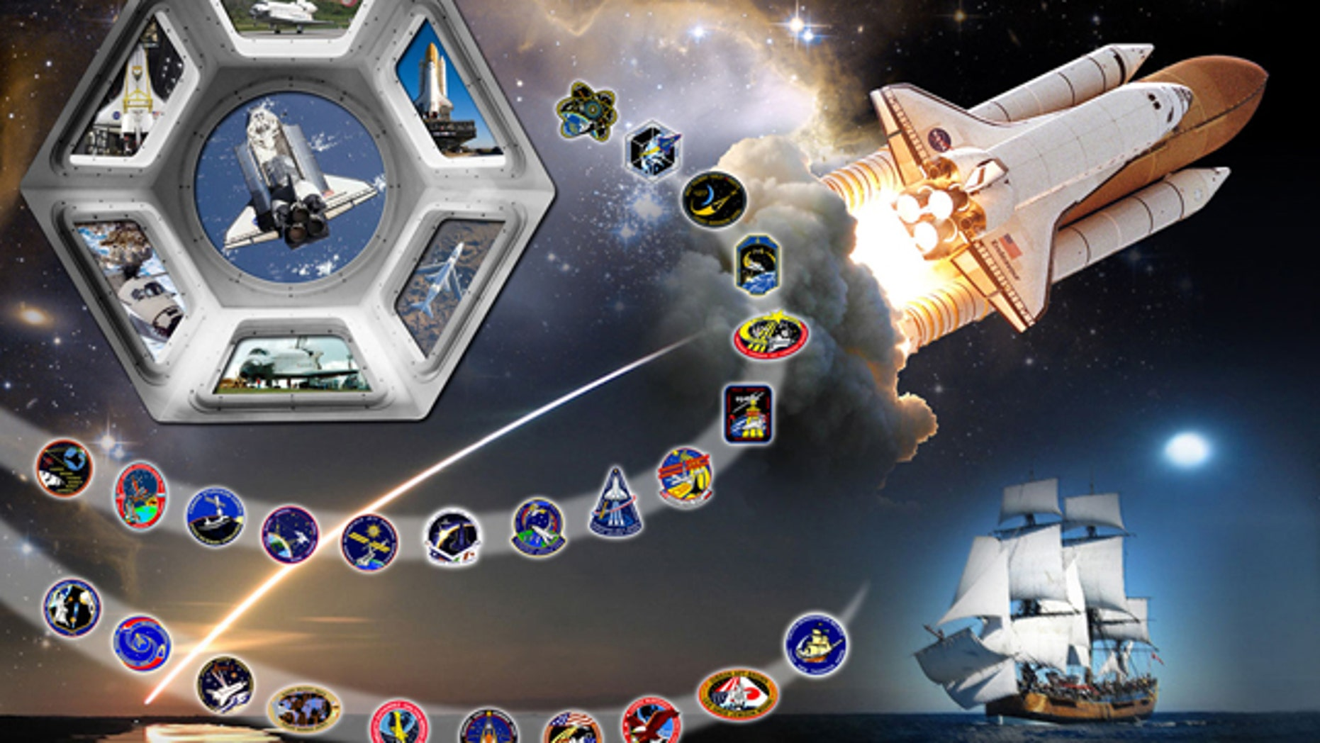 NASA's tribute art for space shuttle Endeavour depicting OV-105 and its 25 mission patches.