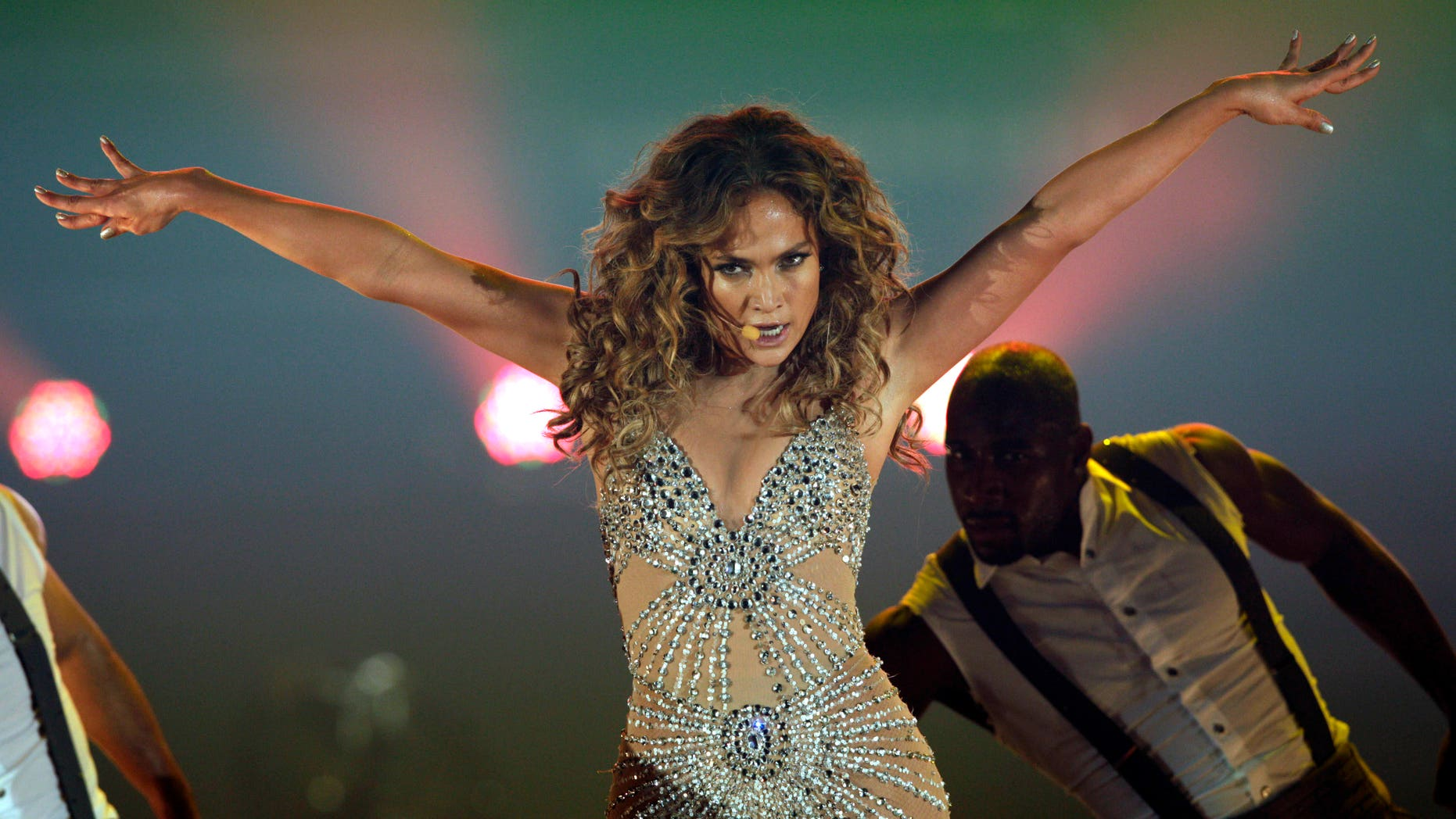 """June 14, 2012: Jennifer Lopez performs during a concert, part of her """"Dance Again Tour"""" in Panama City."""