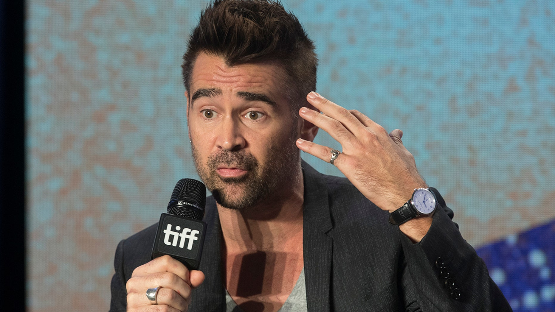 """Actor Colin Farrell attends a press conference to promote the movie """"Widows"""" during the 2018 Toronto International Film Festival in Toronto"""