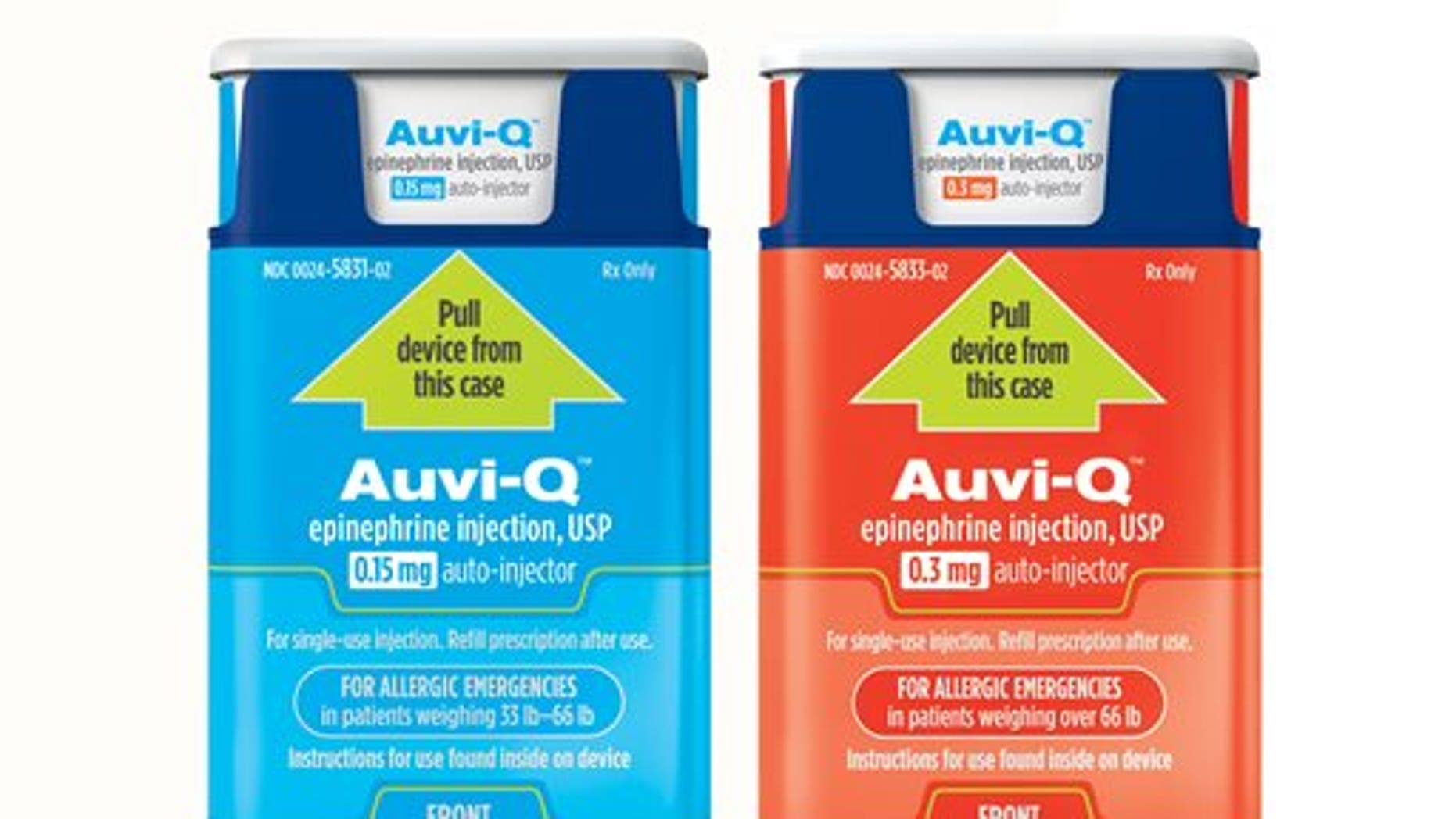 This product image provided by Sanofi shows Auvi-Q epinephrine injectors. Sanofi on Wednesday, Oct. 28, 2015, said it is recalling hundreds of thousands of the injections used to treat severe allergic reactions because they may not deliver the correct amount of the life-saving drug. (Sanofi via AP)