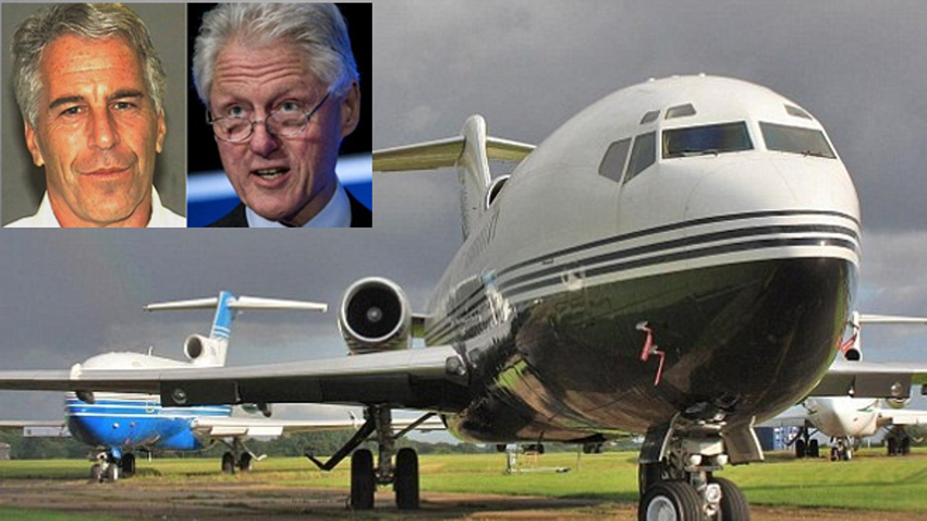 "Epstein, (l.), and Clinton, (r.), flew dozens of times on the billionaire's jet, dubbed ""The Lolita Express."""