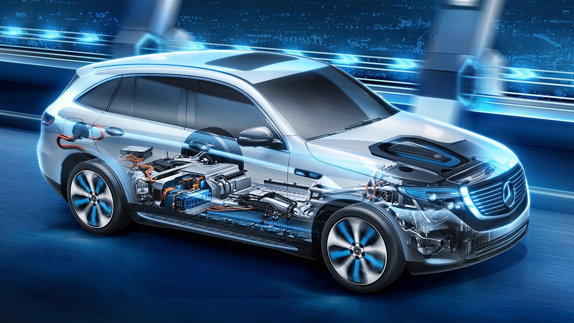Der Mercedes-Benz EQC trägt an Vorder- und Hinterachse je einen kompakten elektrischen Antriebsstrang (eATS) und hat damit die Fahreigenschaften eines Allradantriebs. Die intelligente Steuerung erlaubt über einen weiten Betriebsbereich eine dynamische Momentenverteilung zwischen den beiden angetriebenen Achsen und schafft so die Voraussetzungen für hohe Fahrdynamik. Kernstück des Mercedes-Benz EQC ist die im Fahrzeugboden angeordnete Lithium-Ionen-Batterie aus eigener Produktion. Der neue Mercedes-Benz ECQ (Stromverbrauch kombiniert: 22,2 kWh/100 km; CO2 Emissionen kombiniert: 0 g/km, Angaben vorläufig) // The EQC has a compact electric powerpack at each axle, giving the vehicle the driving characteristics of an all-wheel drive. Over a wide operating range, the intelligent control allows dynamic torque distribution between the two driven axles, creating the conditions for high vehicle dynamics. The centrepiece of the Mercedes-Benz EQC is the lithium-ion battery from in-house production housed in the vehicle floor. The new Mercedes-Benz EQC (combined power consumption: 22.2 kWh/100 km; combined CO2 emissions: 0 g/km, provisional figures)