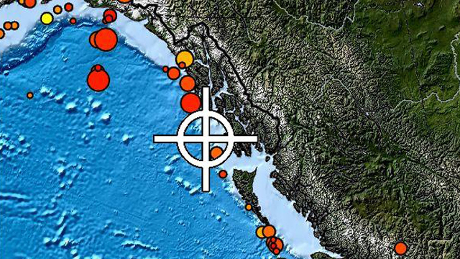 Jan. 5, 2012: The U.S. Geological Survey says a magnitude 7.6 quake struck about 60 miles west of Craig, Alaska.