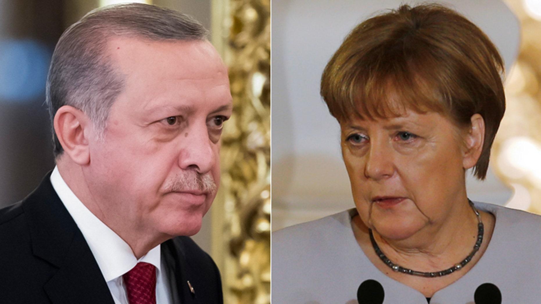 Turkish President Recep Tayyip Erdogan's comments drew a rebuke from German Chancellor Angela Merkel.
