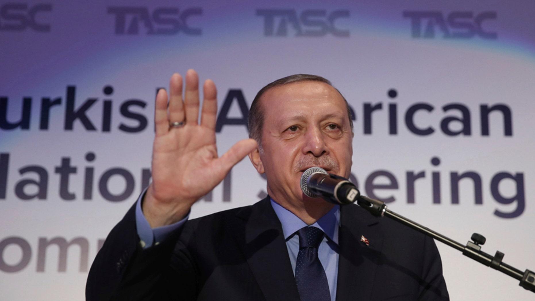 FILE -- Turkey's President Recep Tayyip Erdogan addresses a Turkish-American group meeting in New York, Thursday, Sept. 21, 2017.