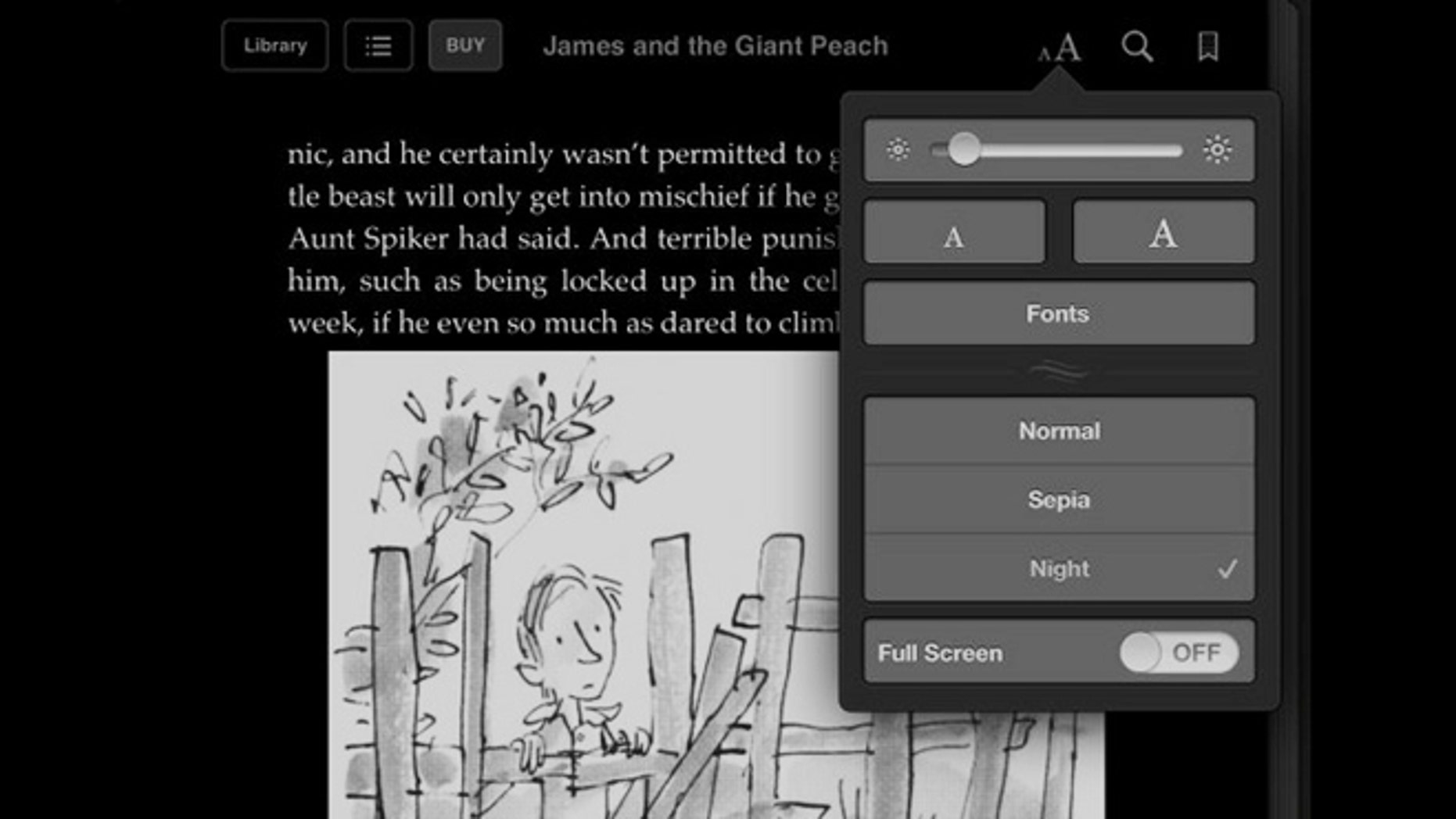 Switch to white text on black for nighttime reading on e-readers and tablets.