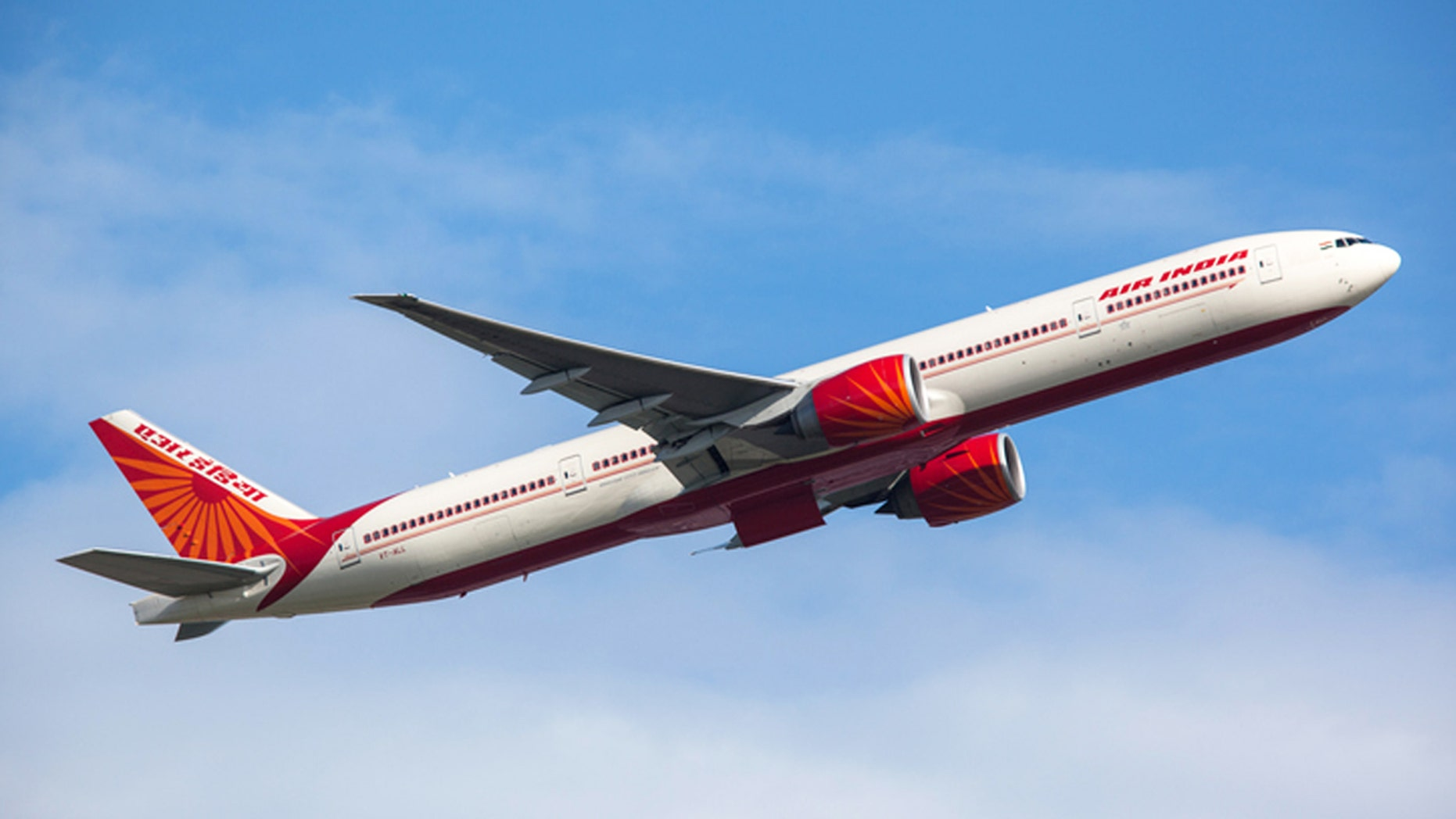 Frankfurt, Germany - June 3, 2010: Air India Boeing 777-300ER taking off from the Frankfurt International Airport.