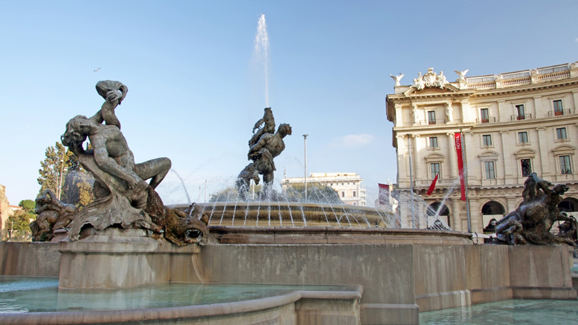 The Fountain of the Naiads in the Piazza della Repubblica in Rome is one of the city's most famous landmarks.