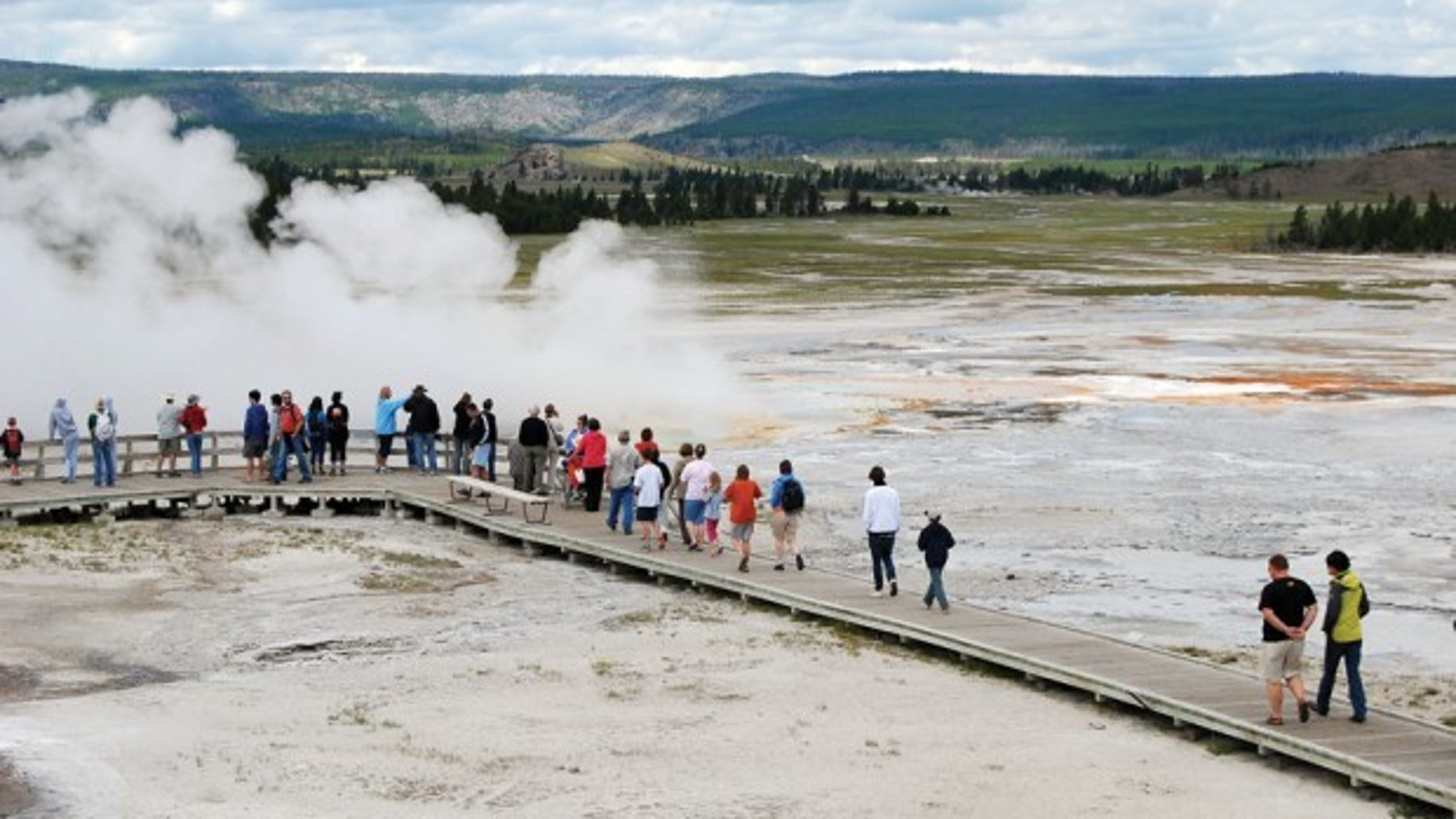 Boardwalks in Yellowstone are designed to protect tourists from slipping into natural geothermal features.