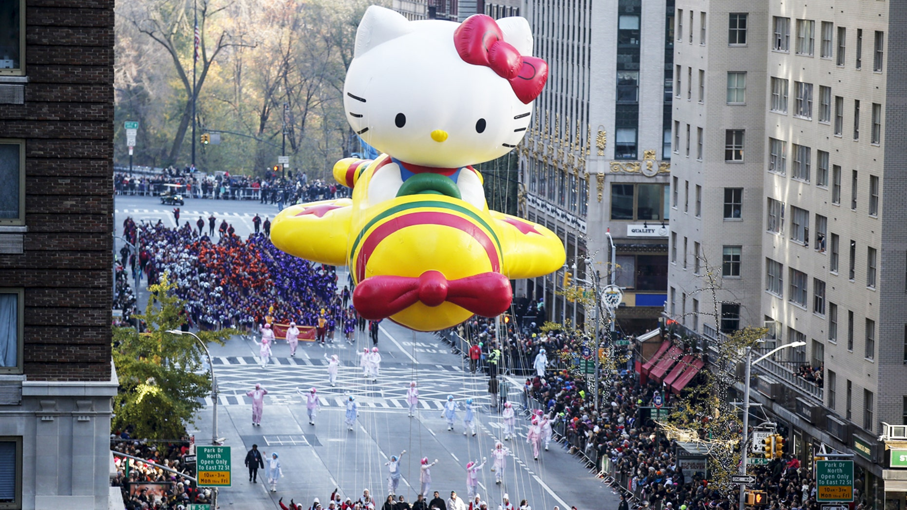 "The ""Hello Kitty"" balloon float makes its way down the Avenue of the Americas during the 89th Macy's Thanksgiving Day Parade in New York City, November 26, 2015."