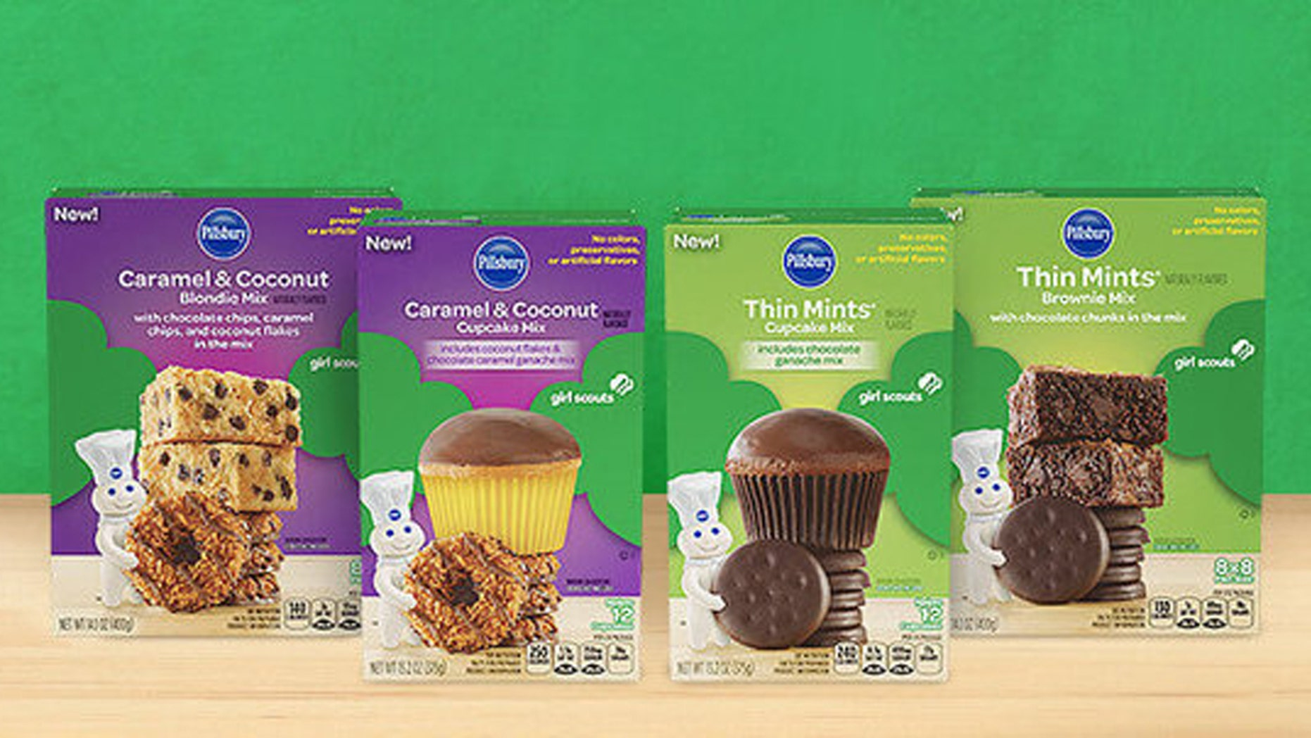 Pillsbury just released four new Girl Scout Cookie-inspired baking mixes.