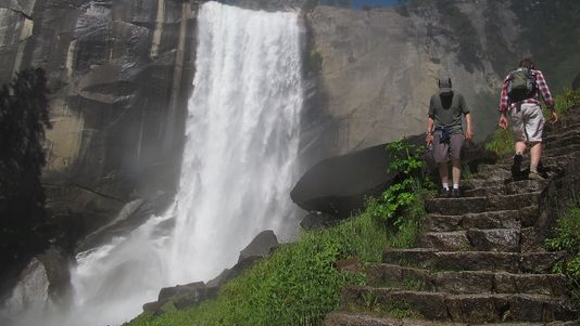 Hikers take on the Mist Trail towards Vernal Falls.