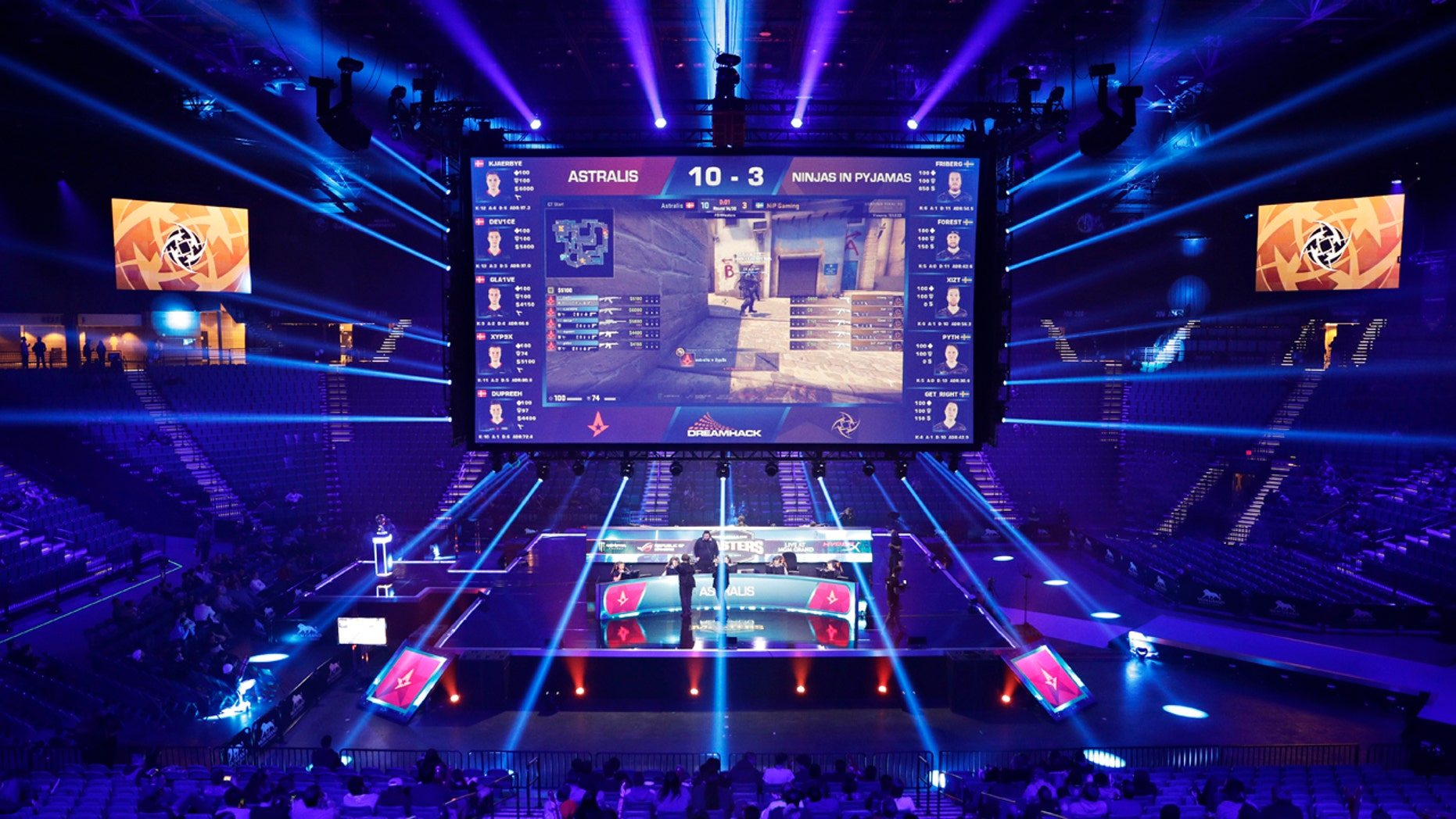 eams compete against each other playing Counter-Strike: Global Offensive during the Dreamhack Masters e-sports tournament at the MGM Grand Garden Arena in Las Vegas. A permanent 15,000 square-foot e-sports facility is scheduled to open in Las Vegas.