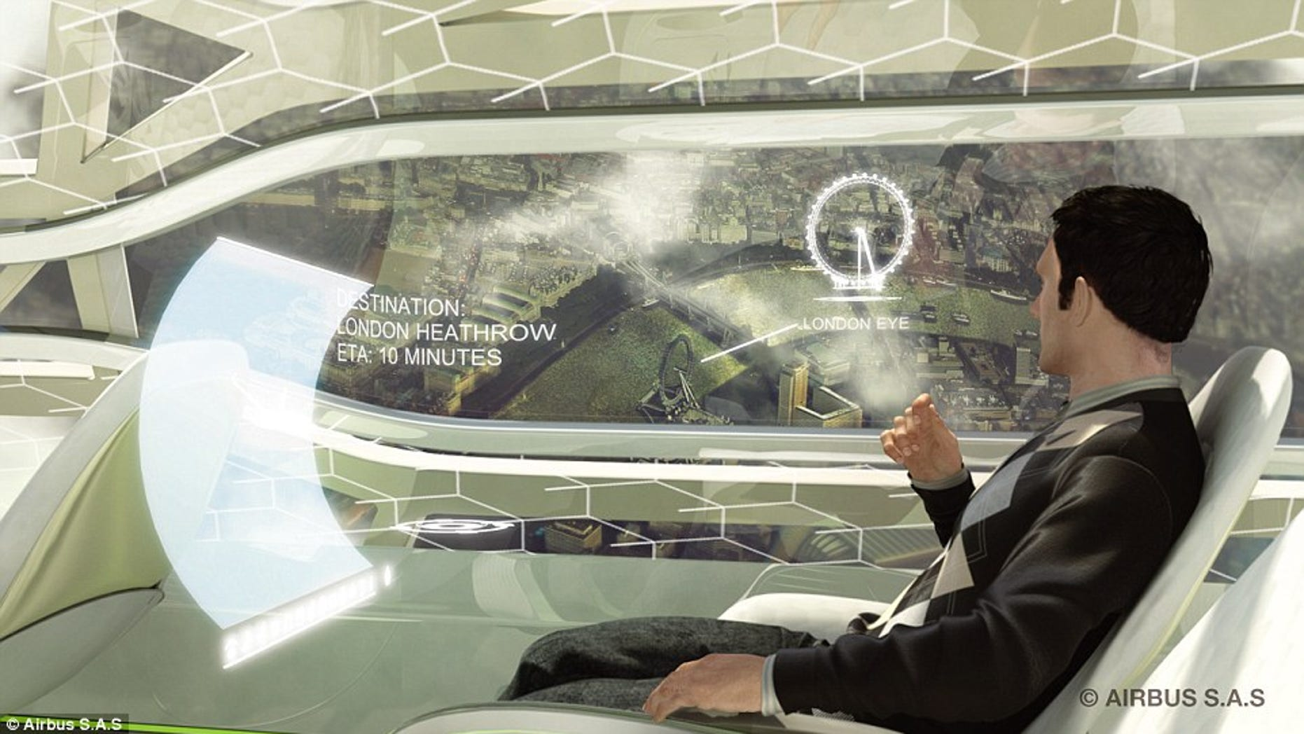 The airplanes of the future may have touchscreen interactive windows.