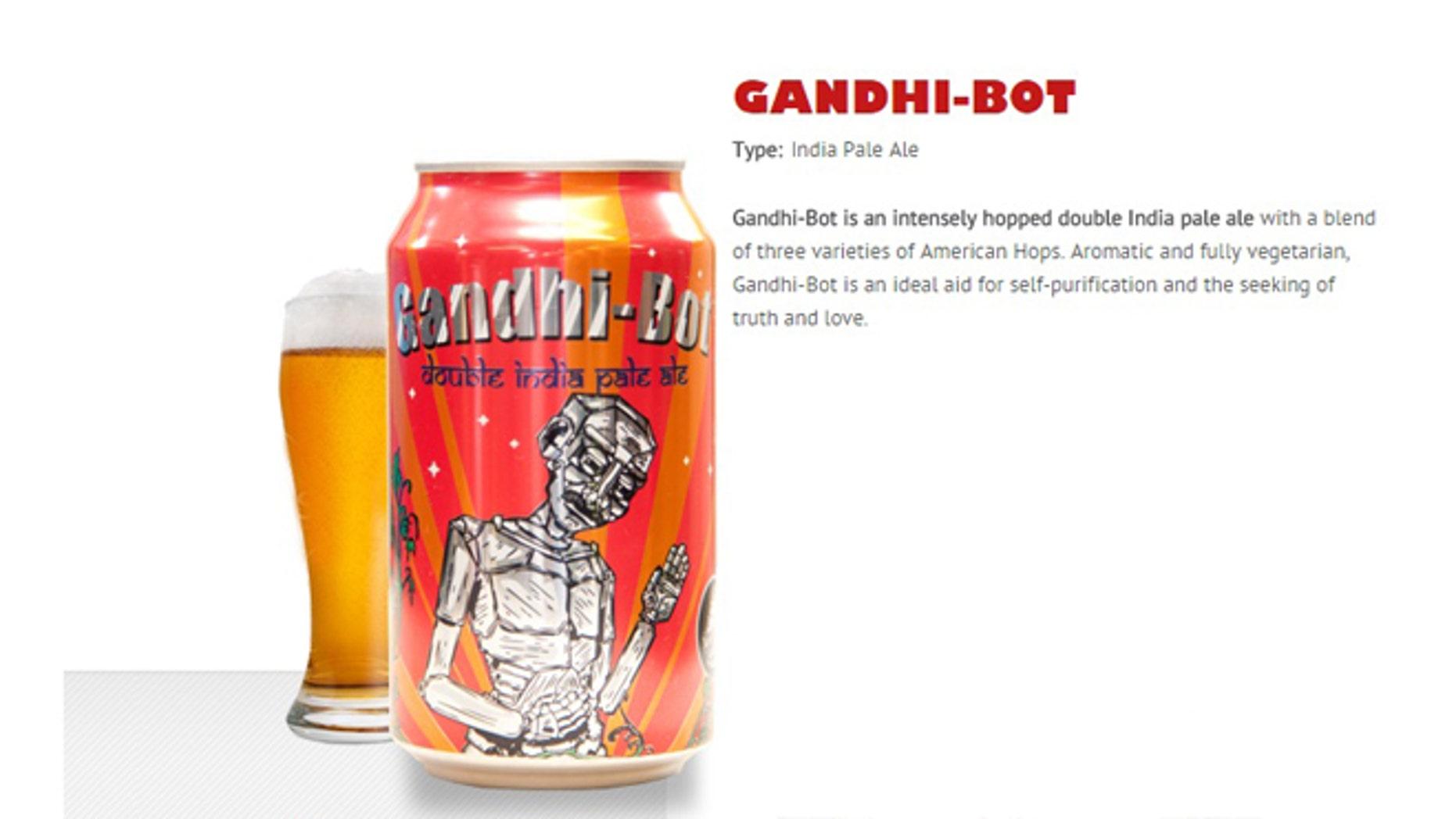 A can of Gandhi-bot beer.