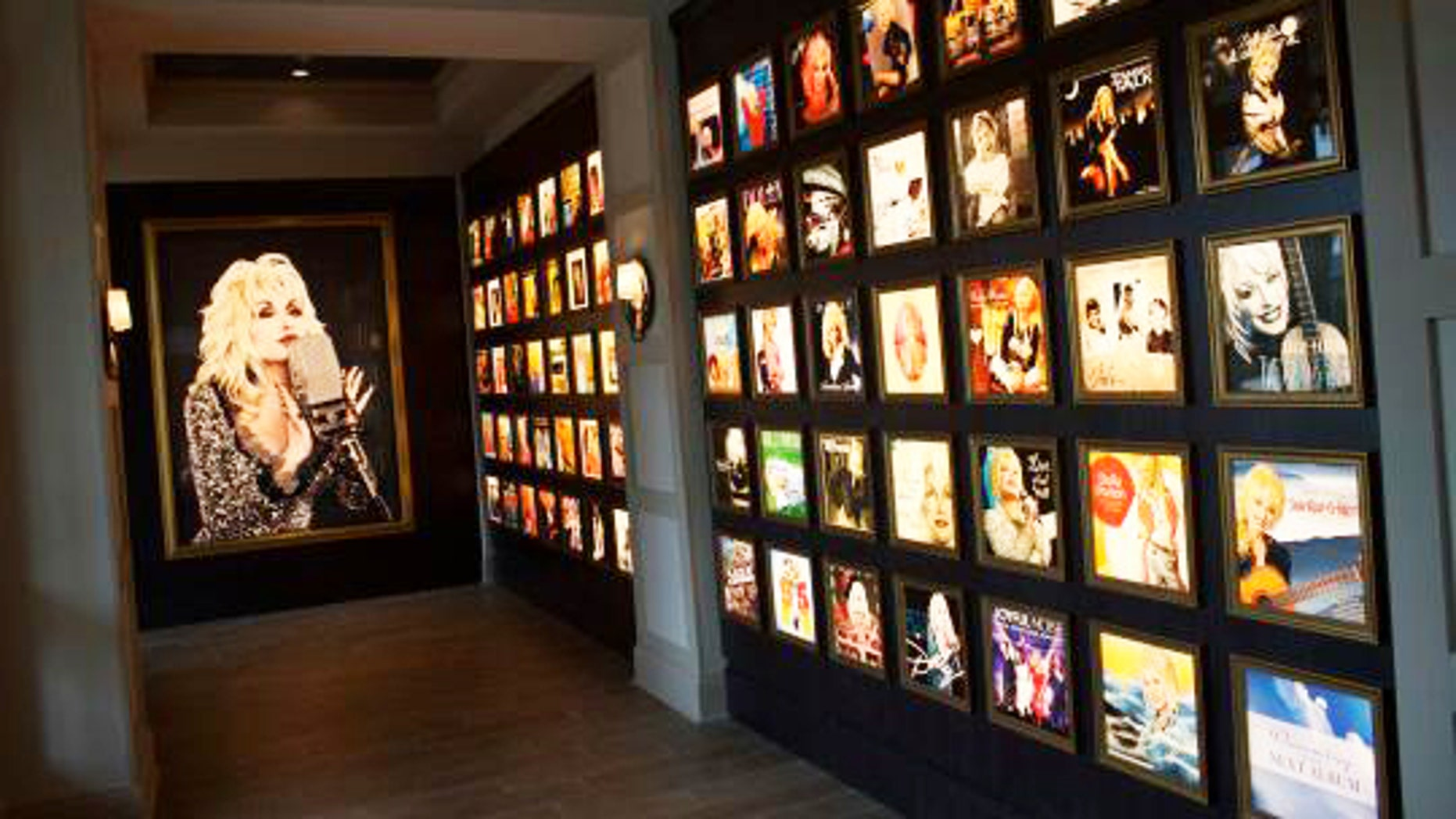 Dolly's discography wall shows the result of her impressive career in music.