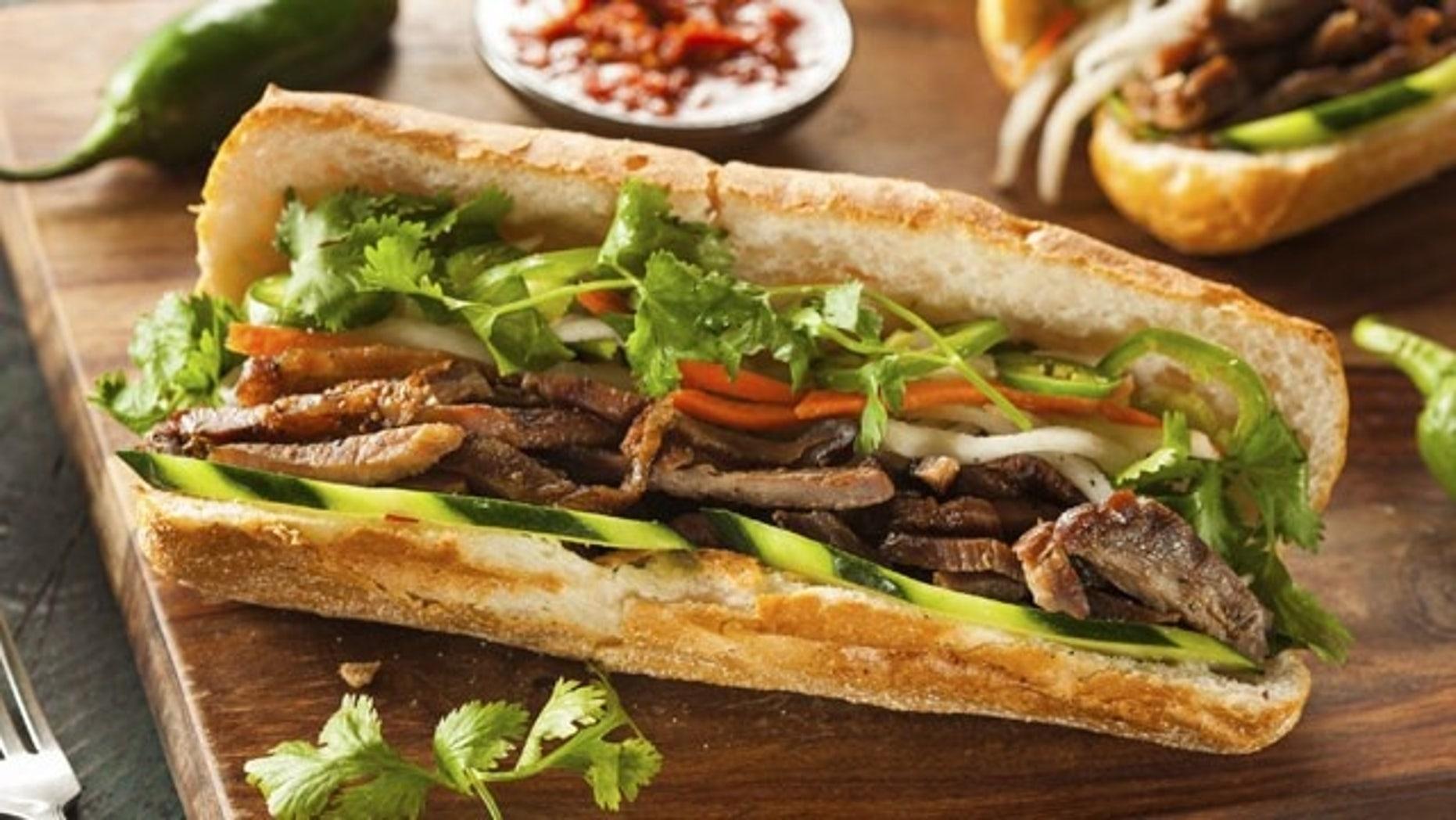 A traditional bahn mi sandwich.