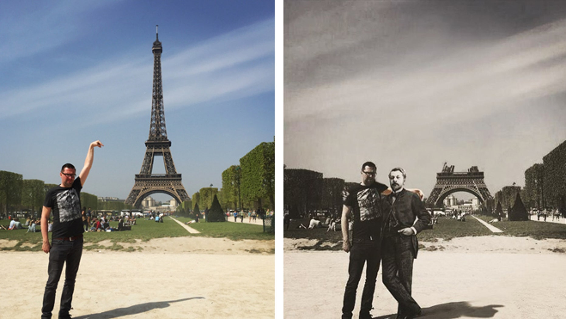 """A tourist's original """"fail"""" photo next to a clever recreation with Gustave Eiffel."""
