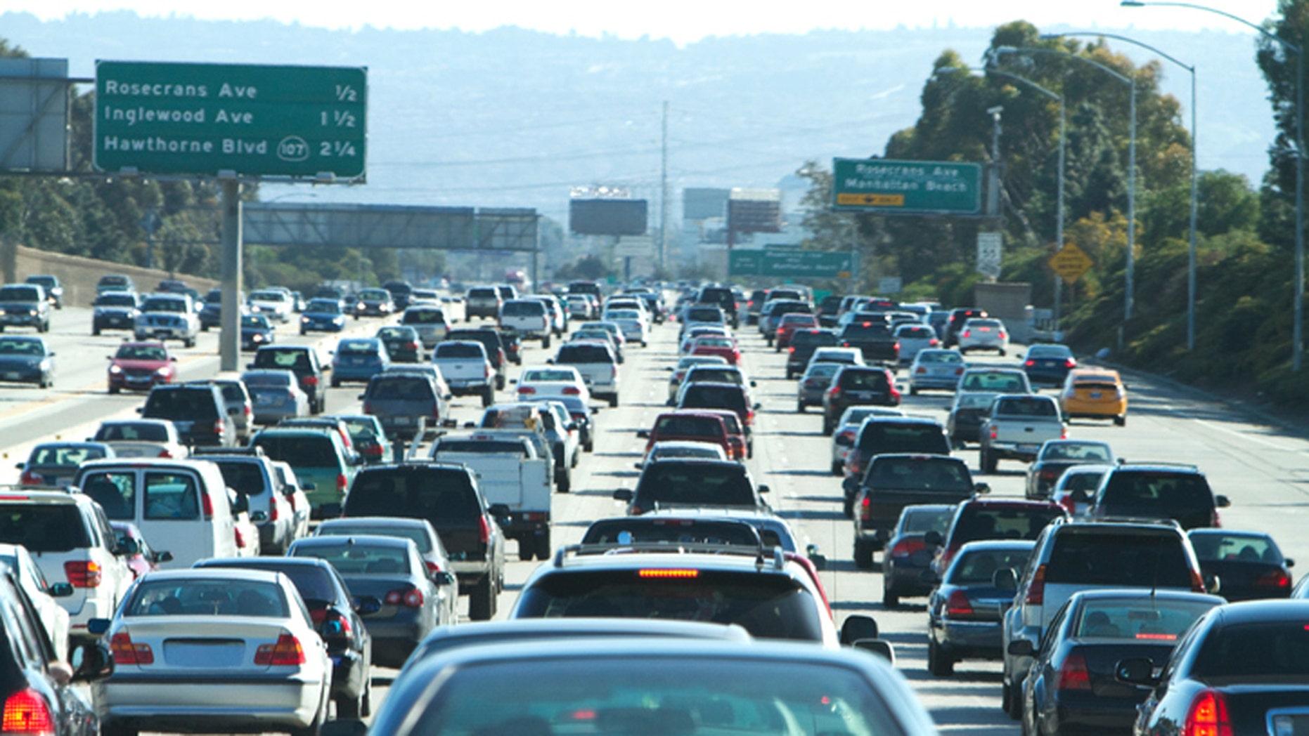 A traffic jam on the 405 freeway in LA California.